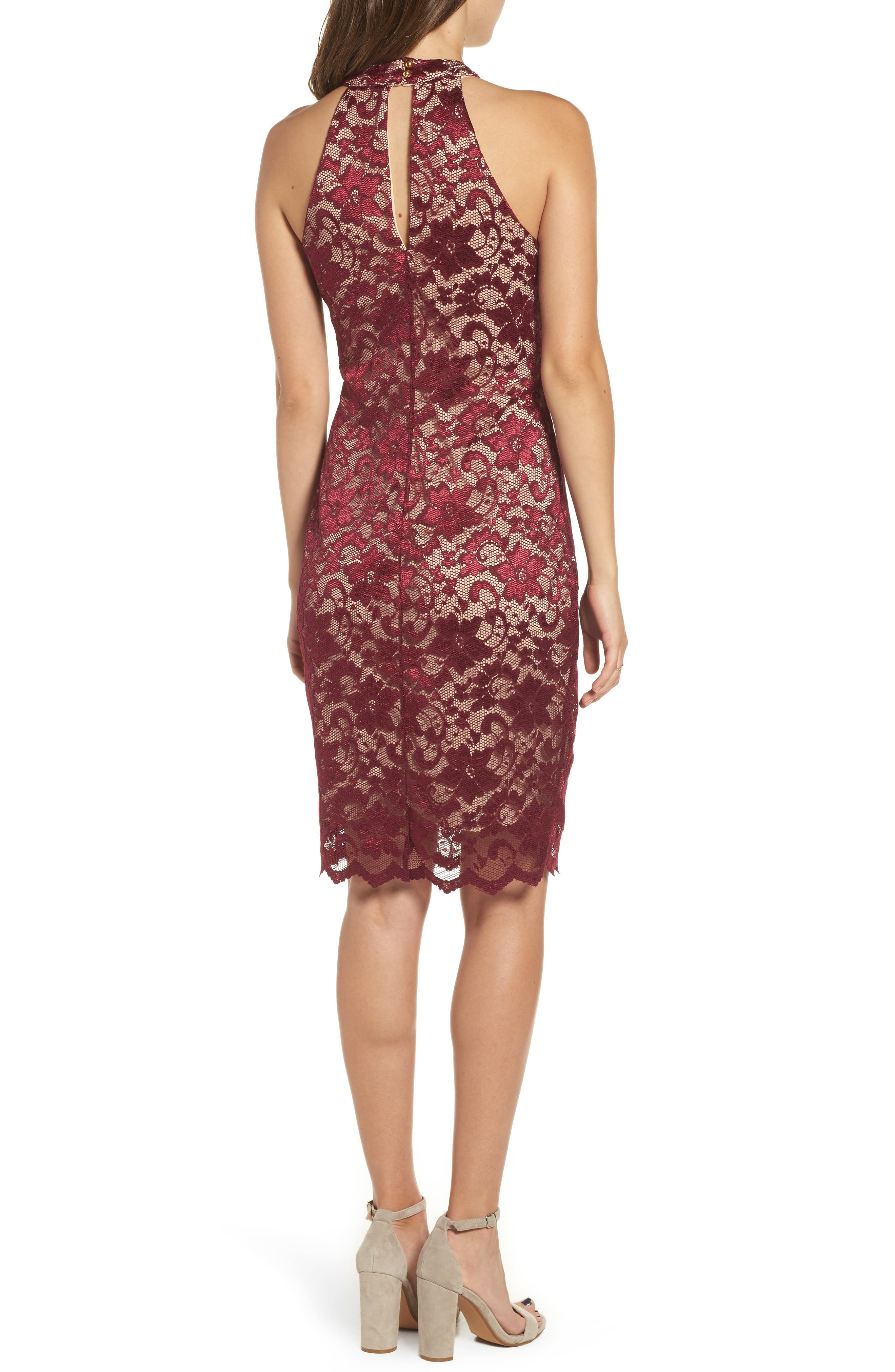 Love Nickie Lew Lace Choker Body Con Dress,                             Alternate thumbnail 2, color,                             Wine/ Nude