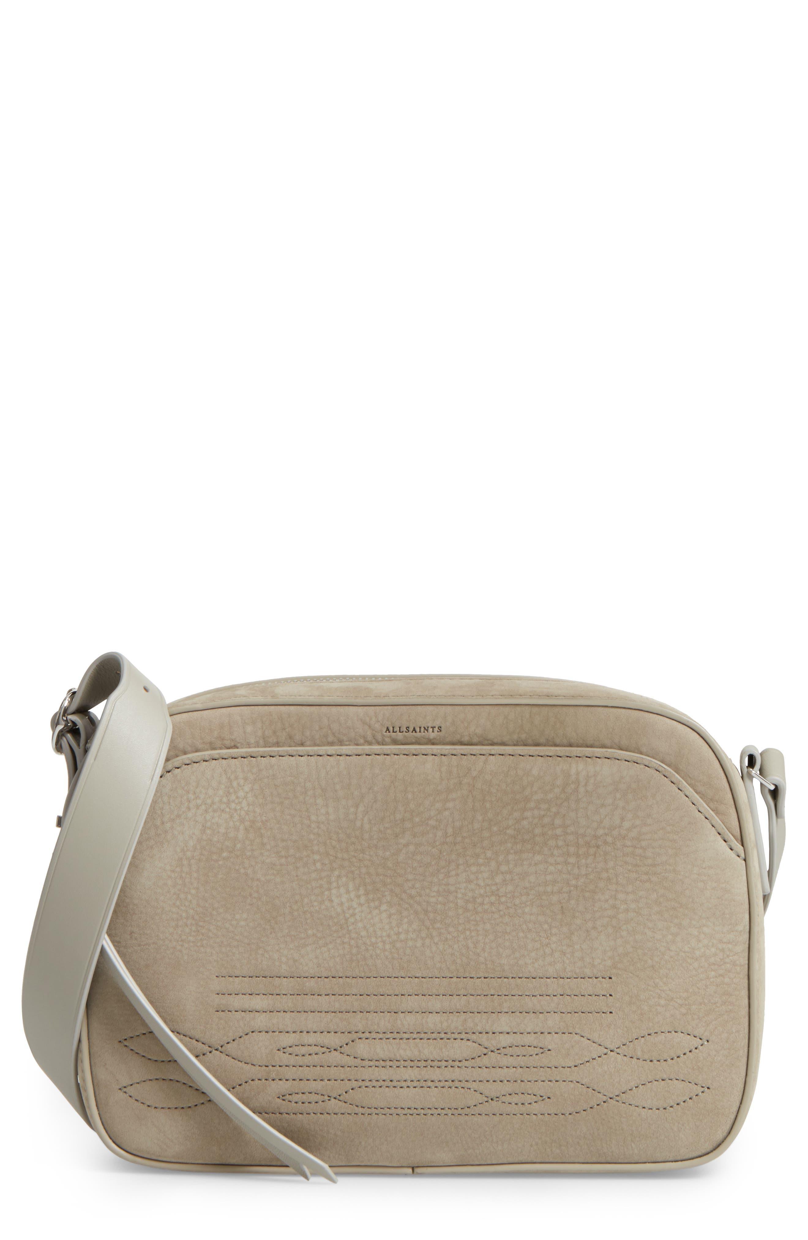 Cooper Nubuck Leather Shoulder Bag,                         Main,                         color, Light Cement Grey