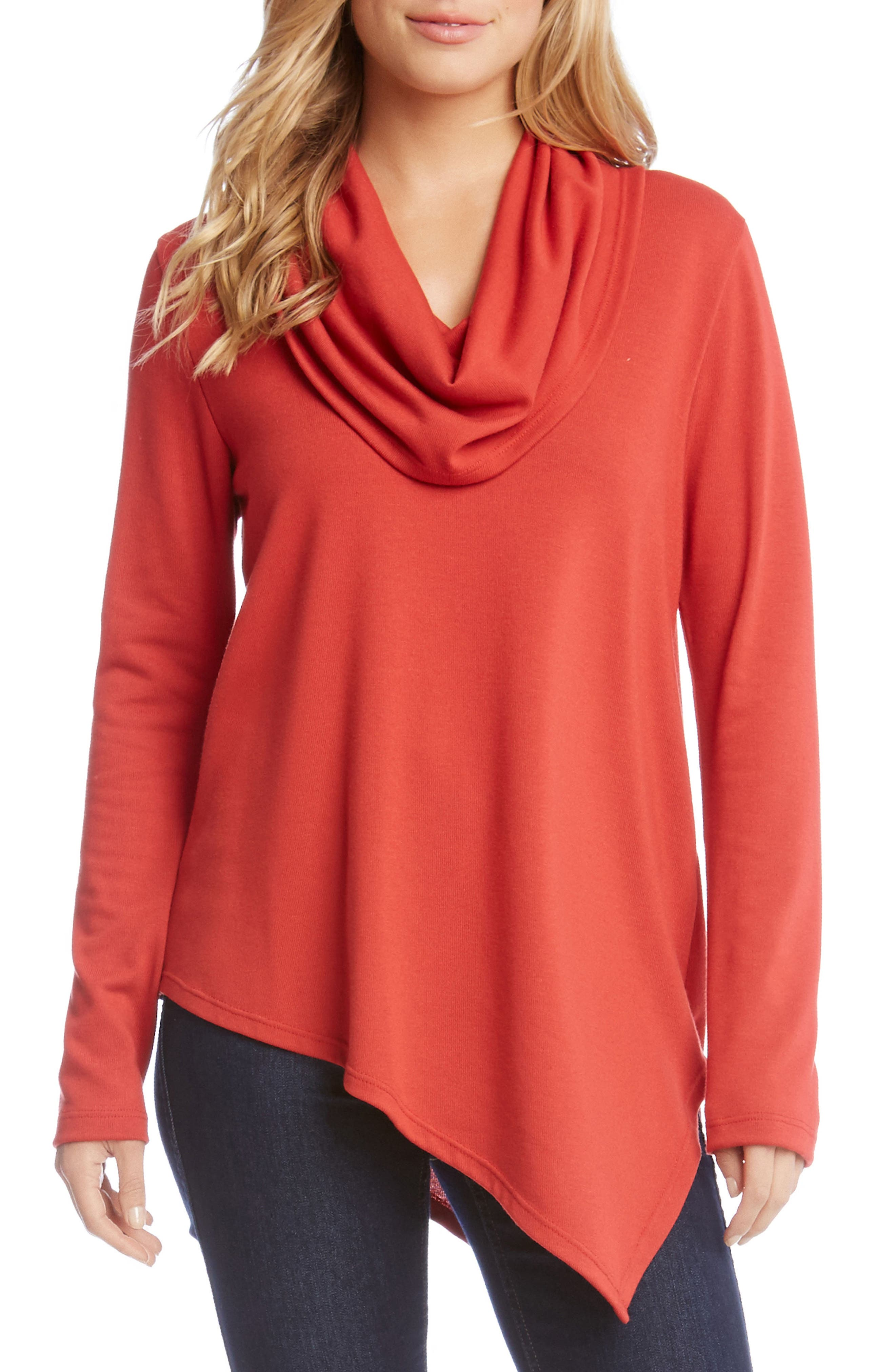 Cowl Neck Asymmetrical Sweater,                         Main,                         color, Cayenne