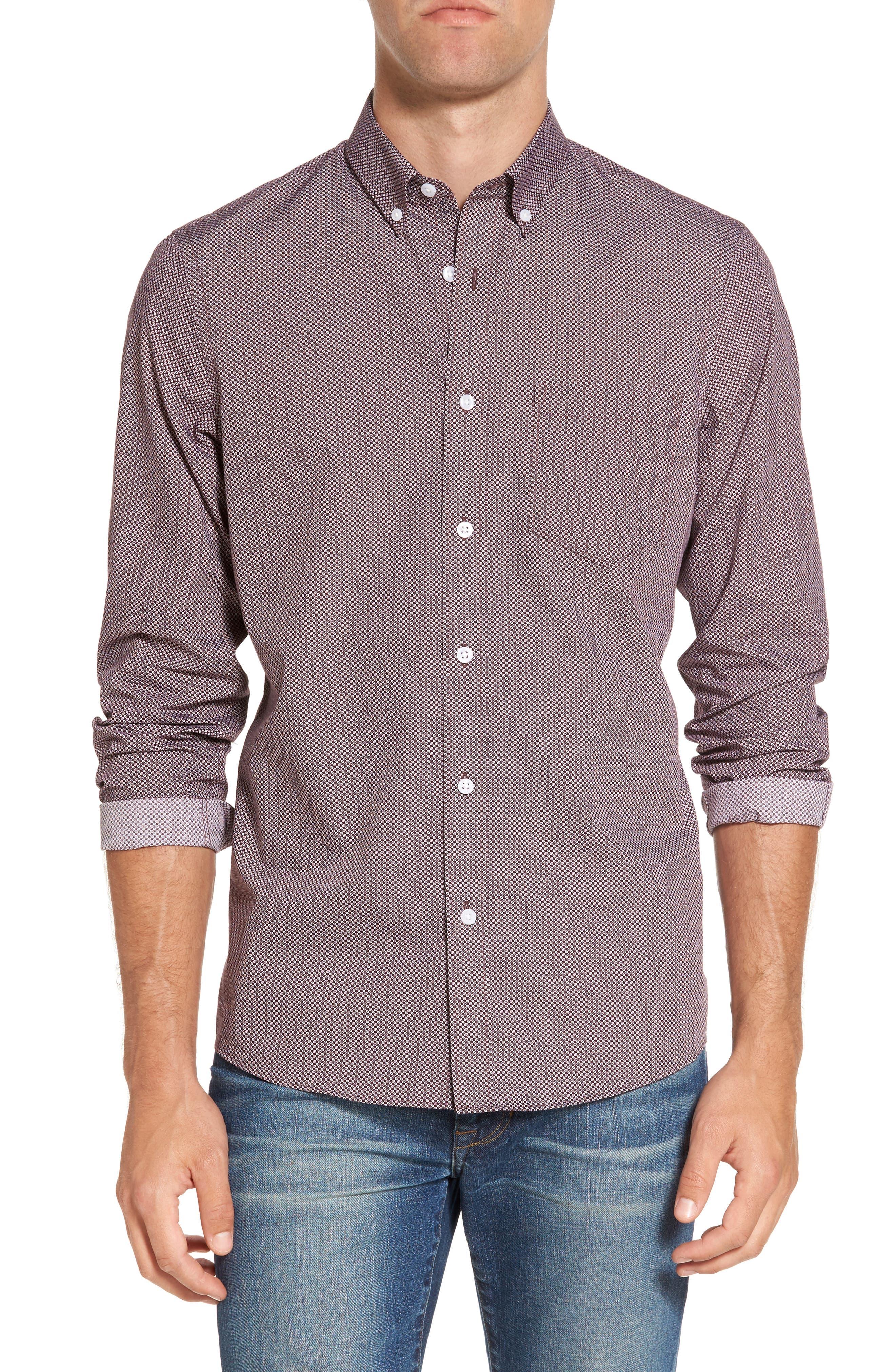 Alternate Image 1 Selected - Nordstrom Men's Shop Trim Fit Non-Iron Spade Print Sport Shirt (Regular & Tall)