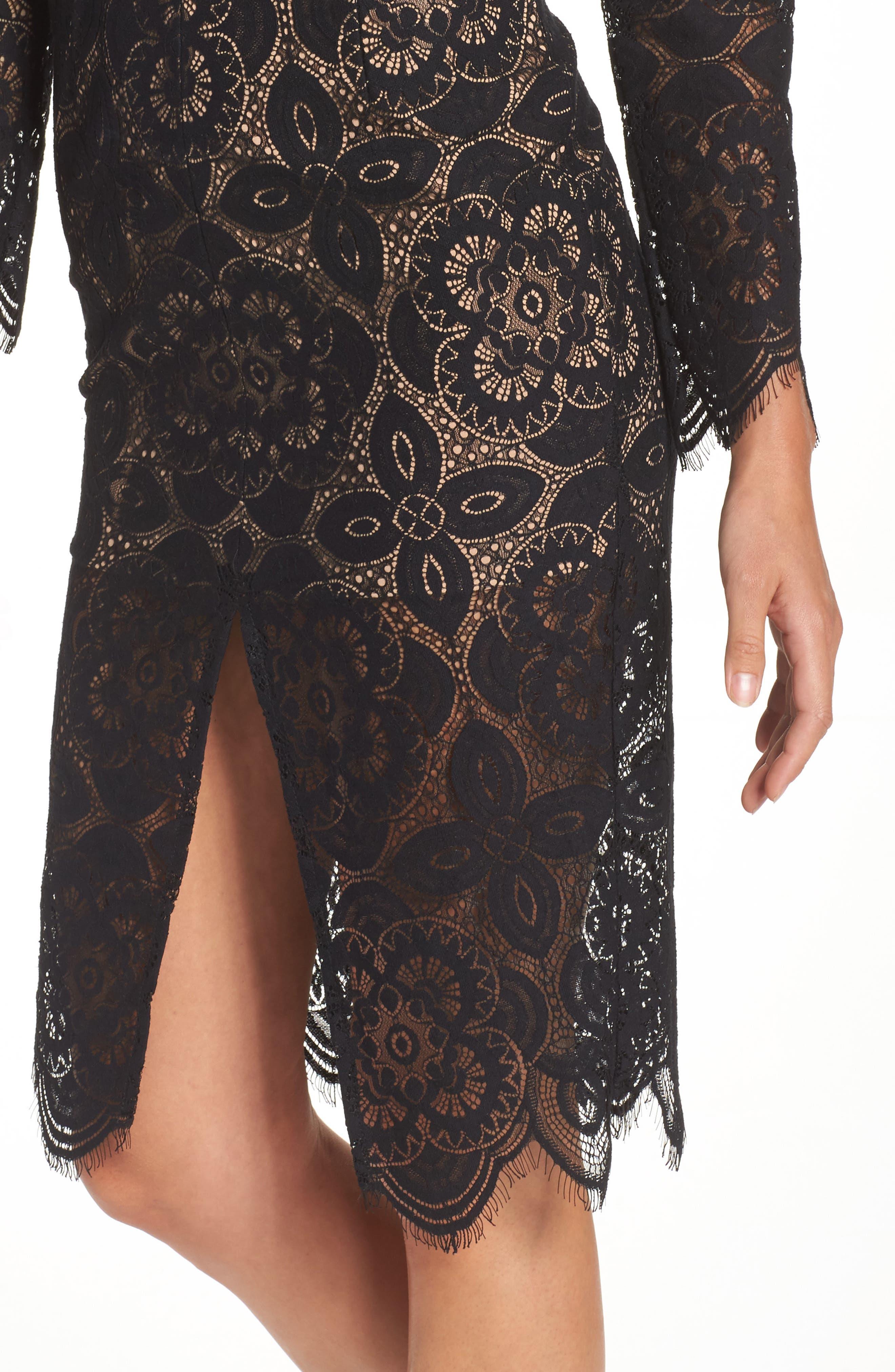 V-Neck Lace Sheath Dress,                             Alternate thumbnail 4, color,                             Black