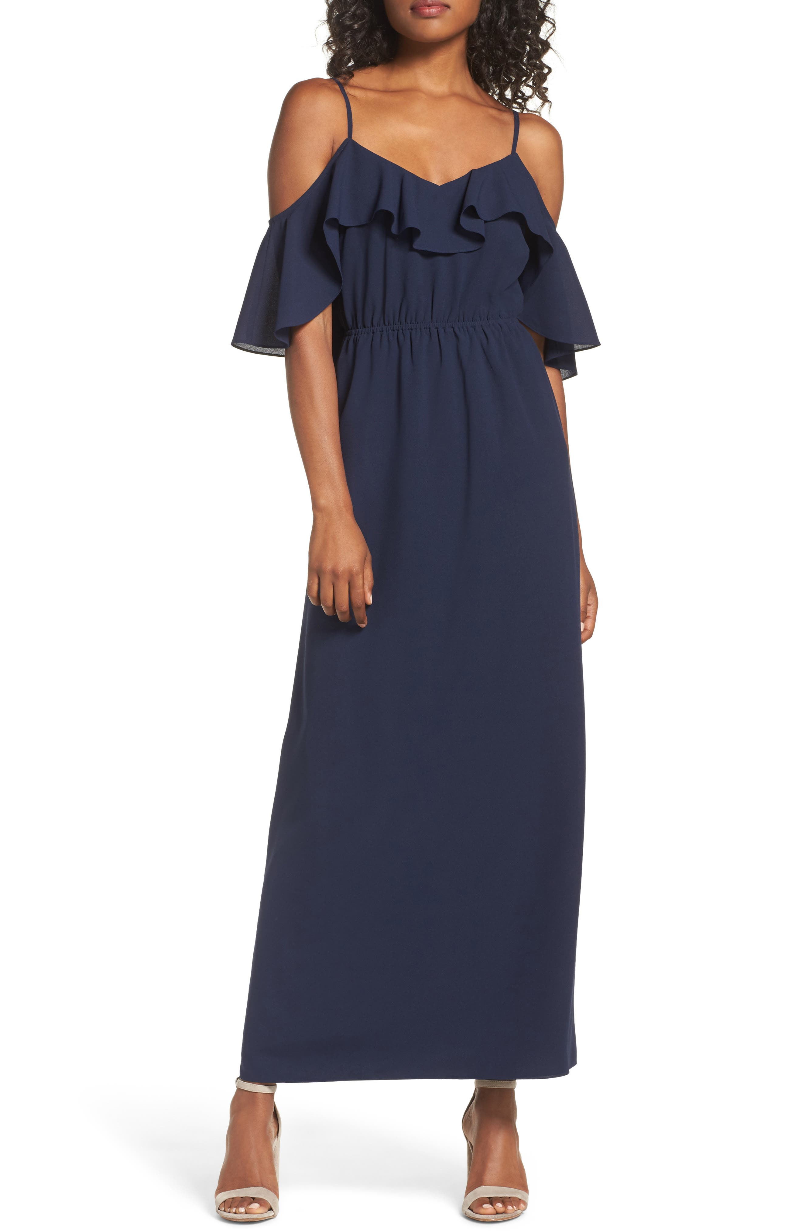 Love Story Cold Shoulder Maxi Dress,                         Main,                         color, Navy