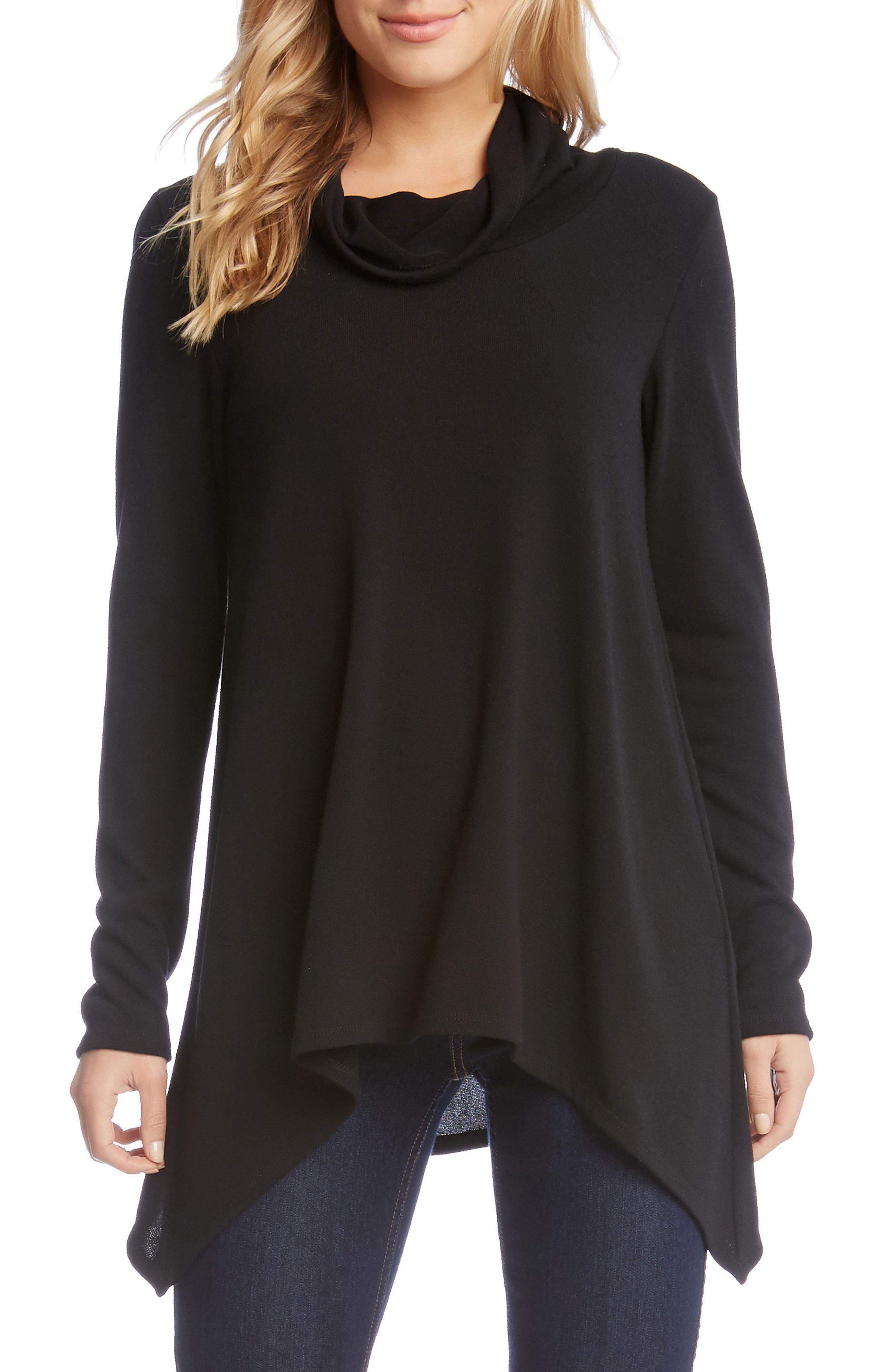Curved Hem Sweater,                         Main,                         color, Black