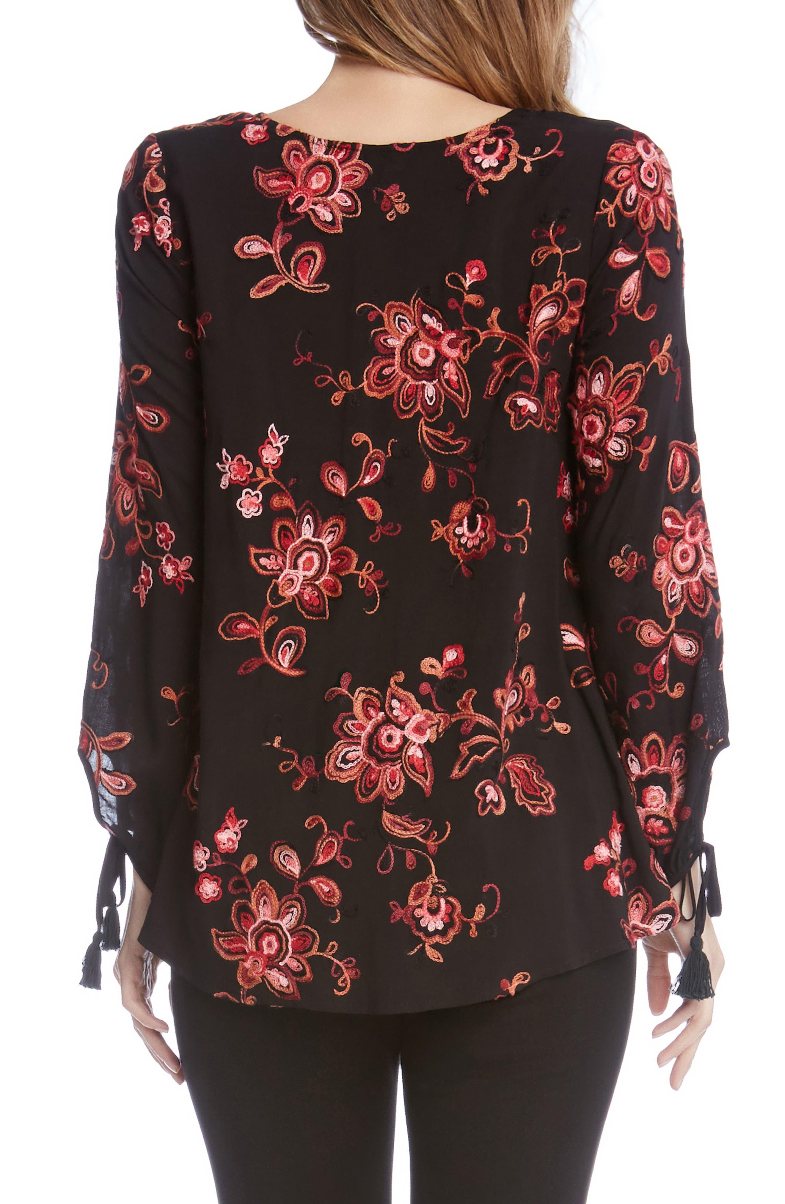 Alternate Image 4  - Karen Kane Tassel Sleeve Embroidered Top