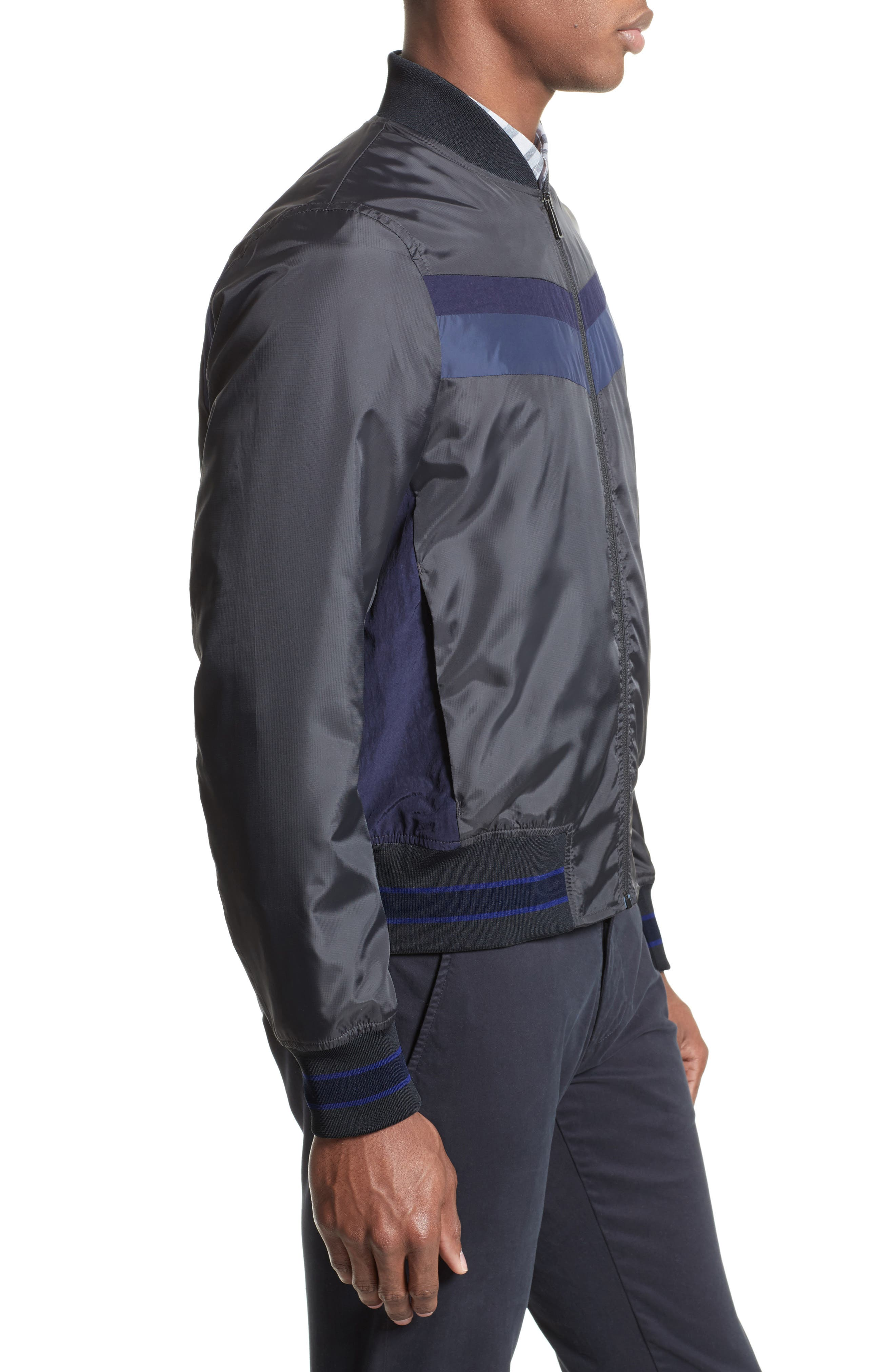 Colorblock Bomber Jacket,                             Alternate thumbnail 3, color,                             Black