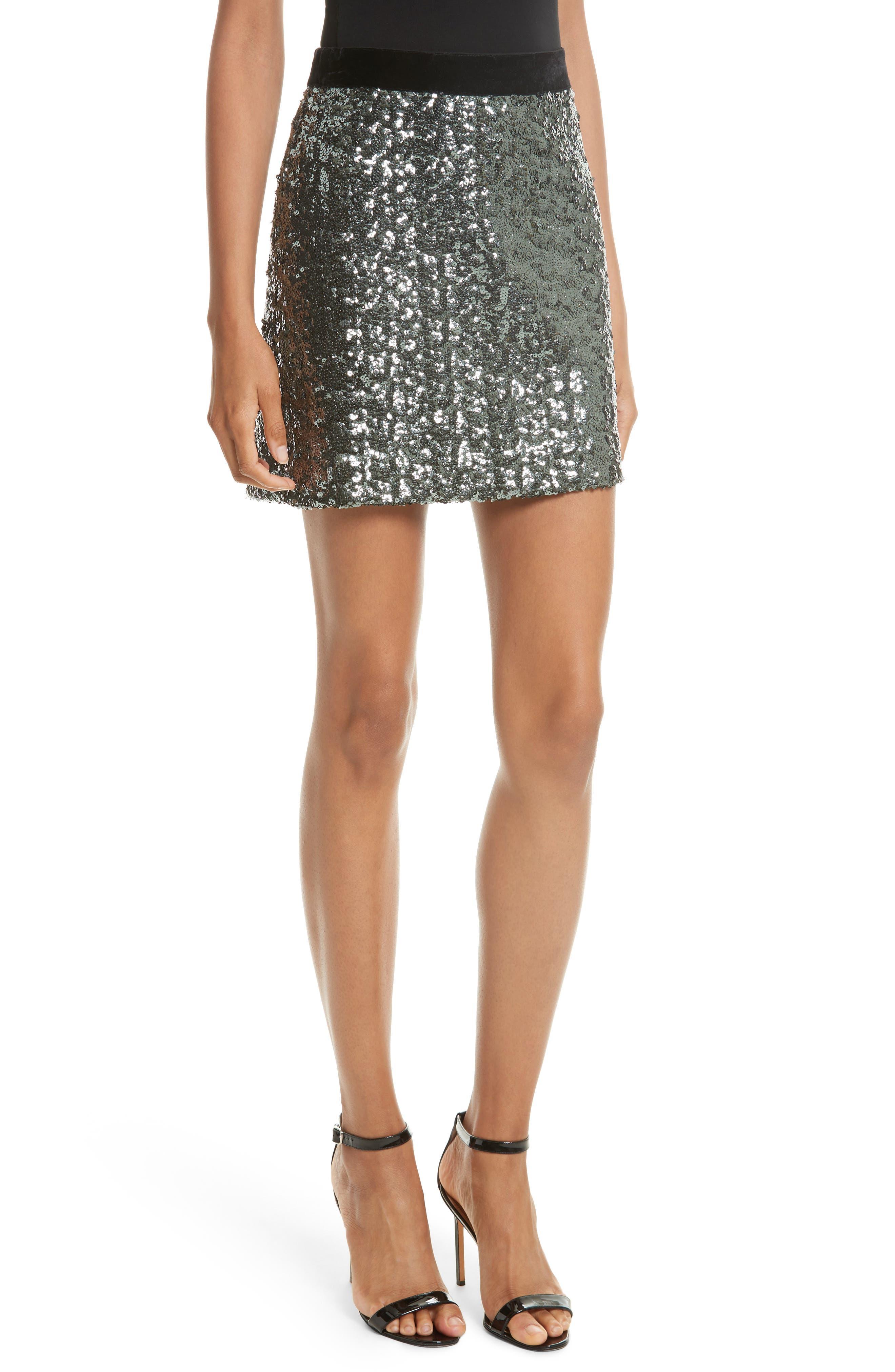 Milly Sea Glass Sequin Miniskirt