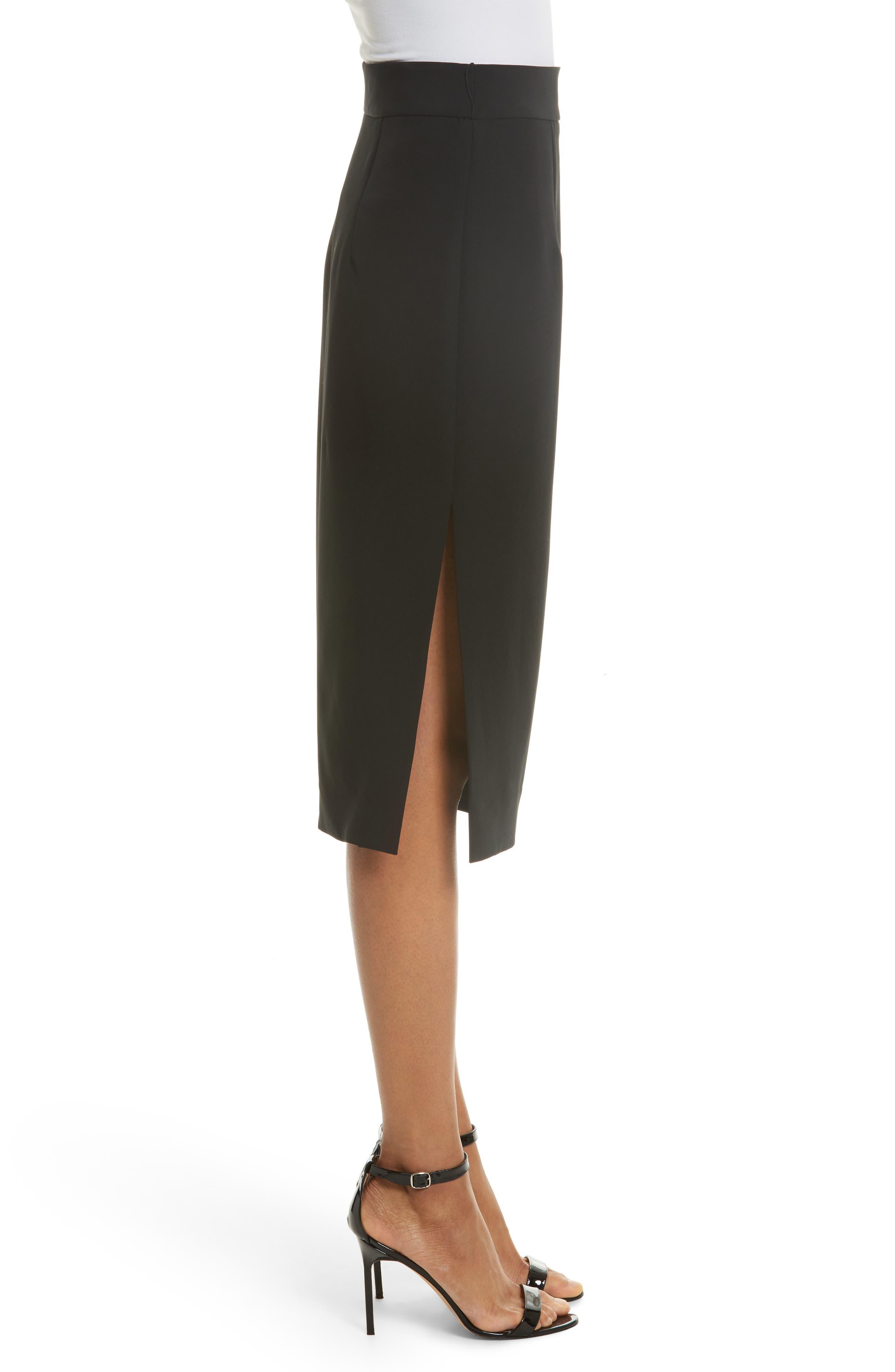 Italian Cady Side Slit Skirt,                             Alternate thumbnail 3, color,                             Black