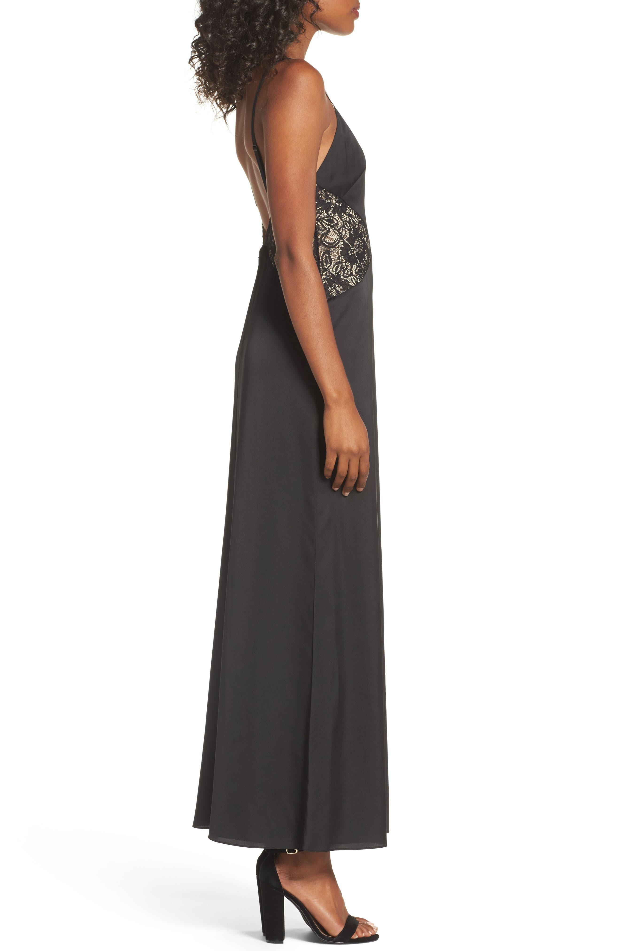 Femme Fatale Slip Dress,                             Alternate thumbnail 4, color,                             Black