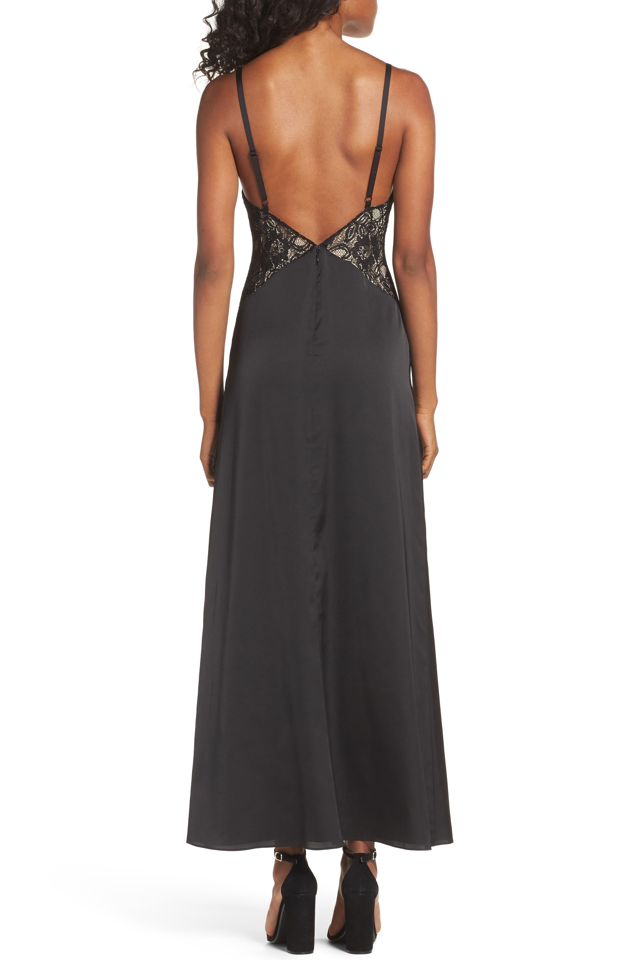 Femme Fatale Slip Dress,                             Alternate thumbnail 3, color,                             Black
