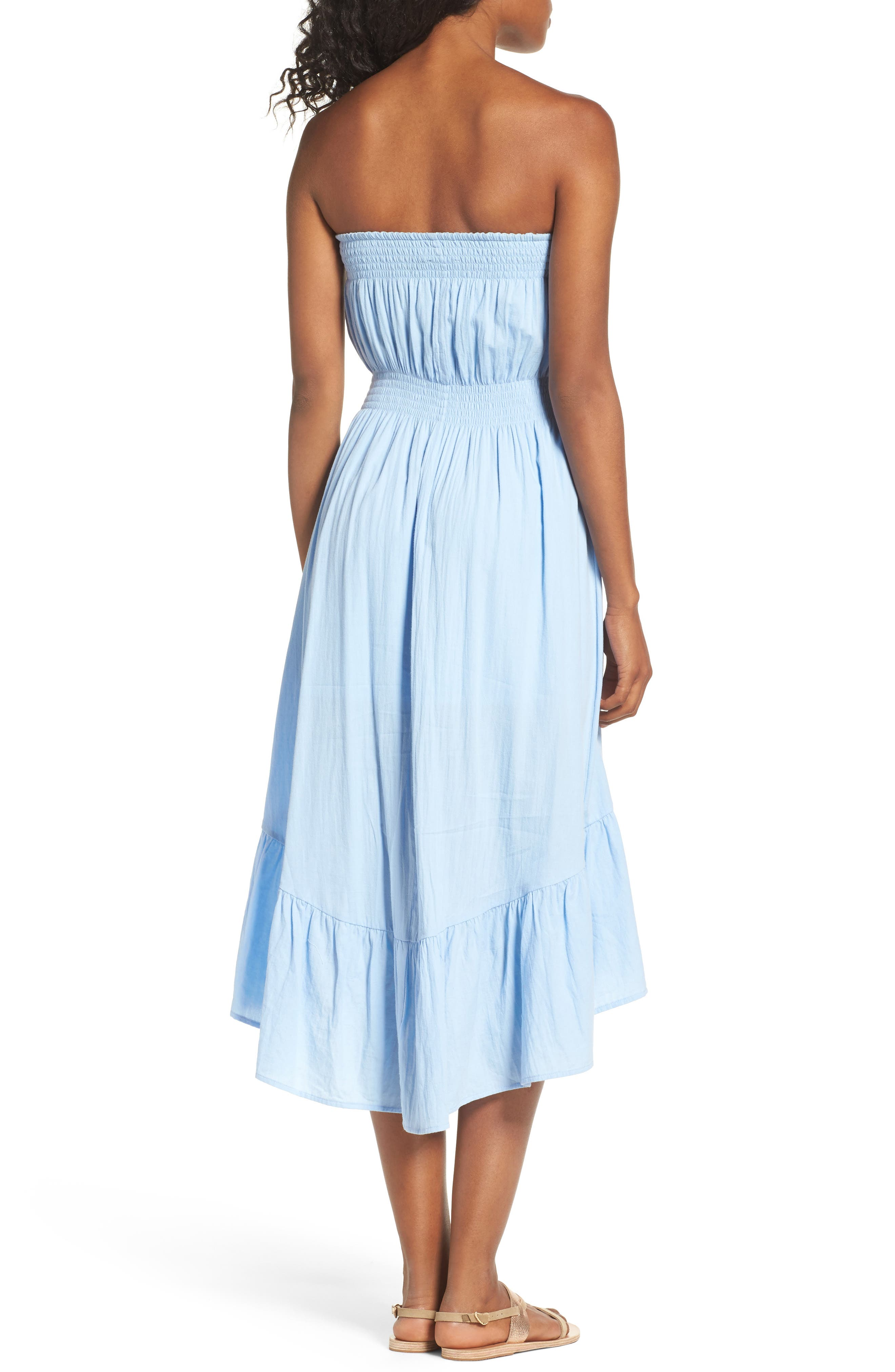 Strapless Midi Dress,                             Alternate thumbnail 2, color,                             Light Blue