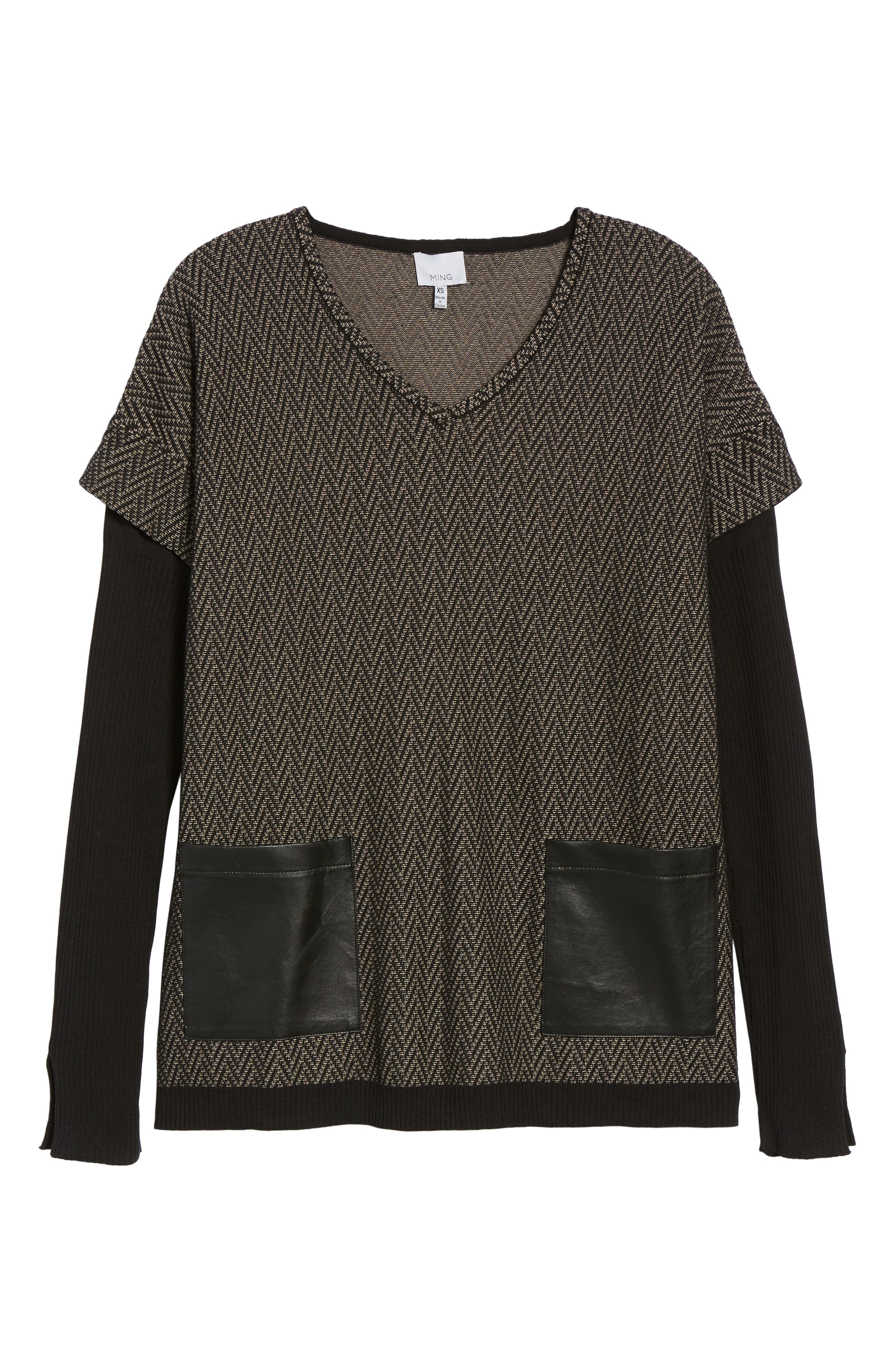 Layered Look Sweater,                             Alternate thumbnail 6, color,                             Ash/ Black