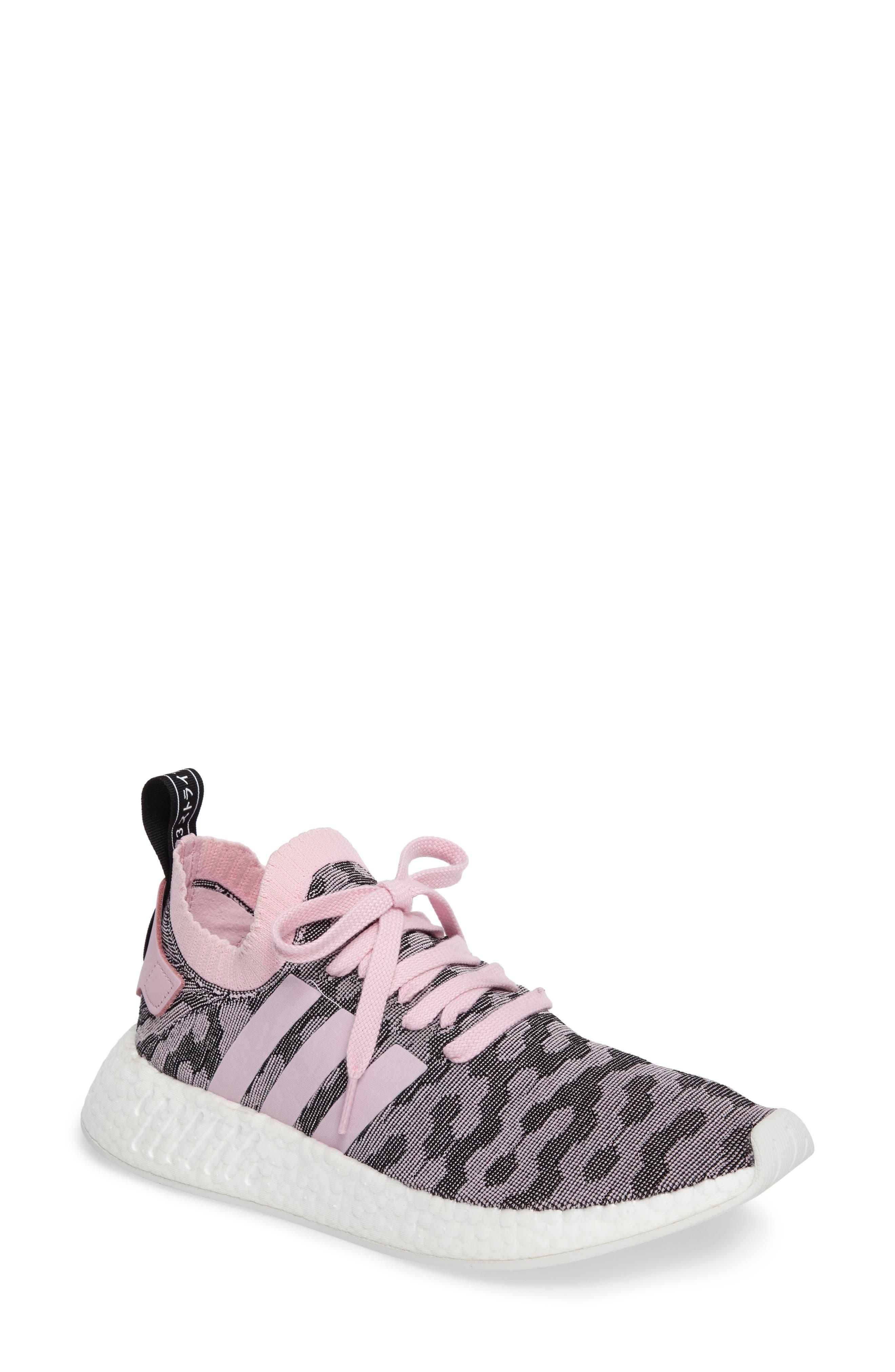 NMD R2 Primeknit Athletic Shoe,                             Main thumbnail 1, color,                             Wonder Pink/ Wonder Pink