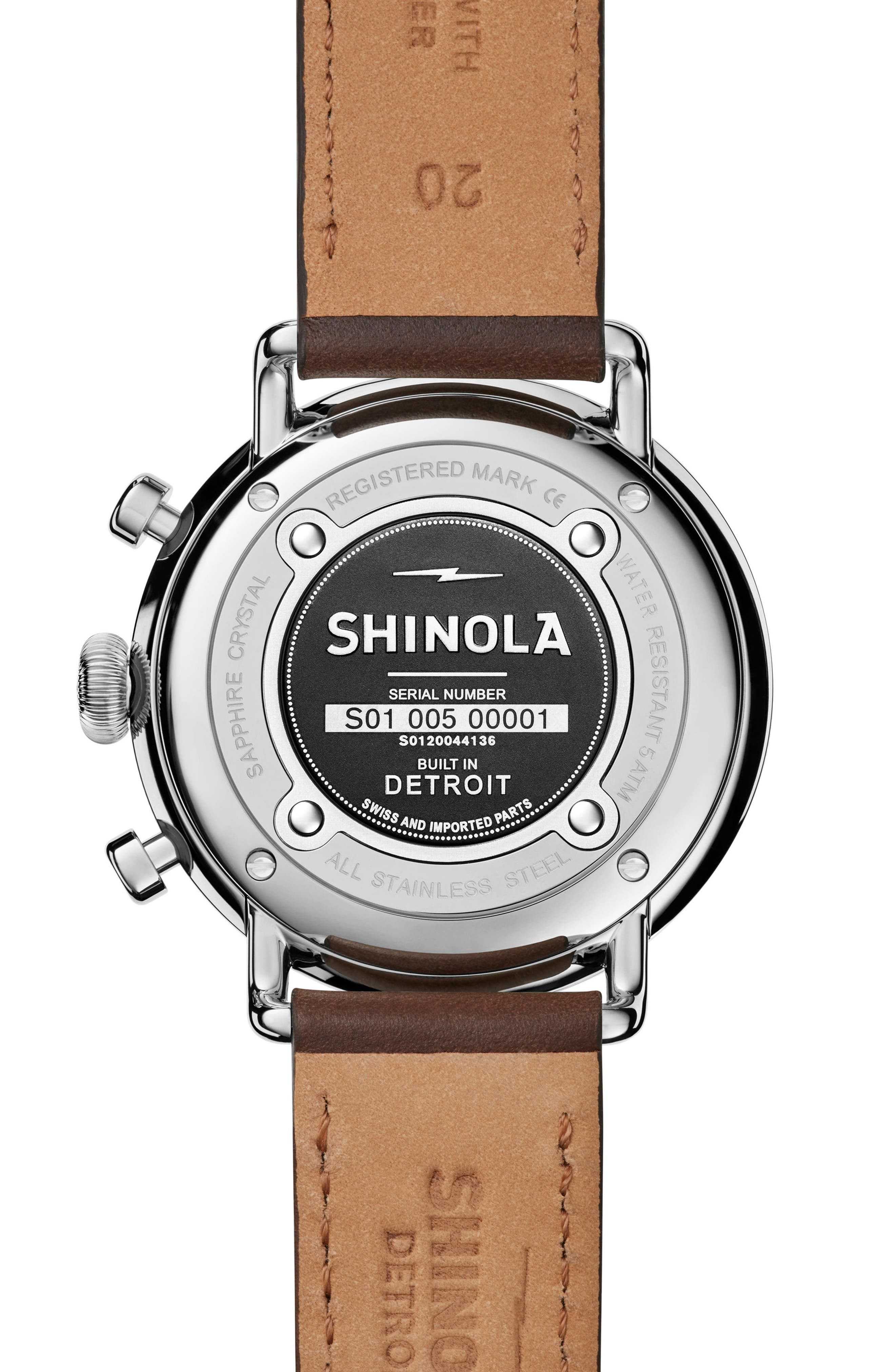 The Canfield Chrono Leather Strap Watch, 43mm,                             Alternate thumbnail 2, color,                             Bourbon/ Silver
