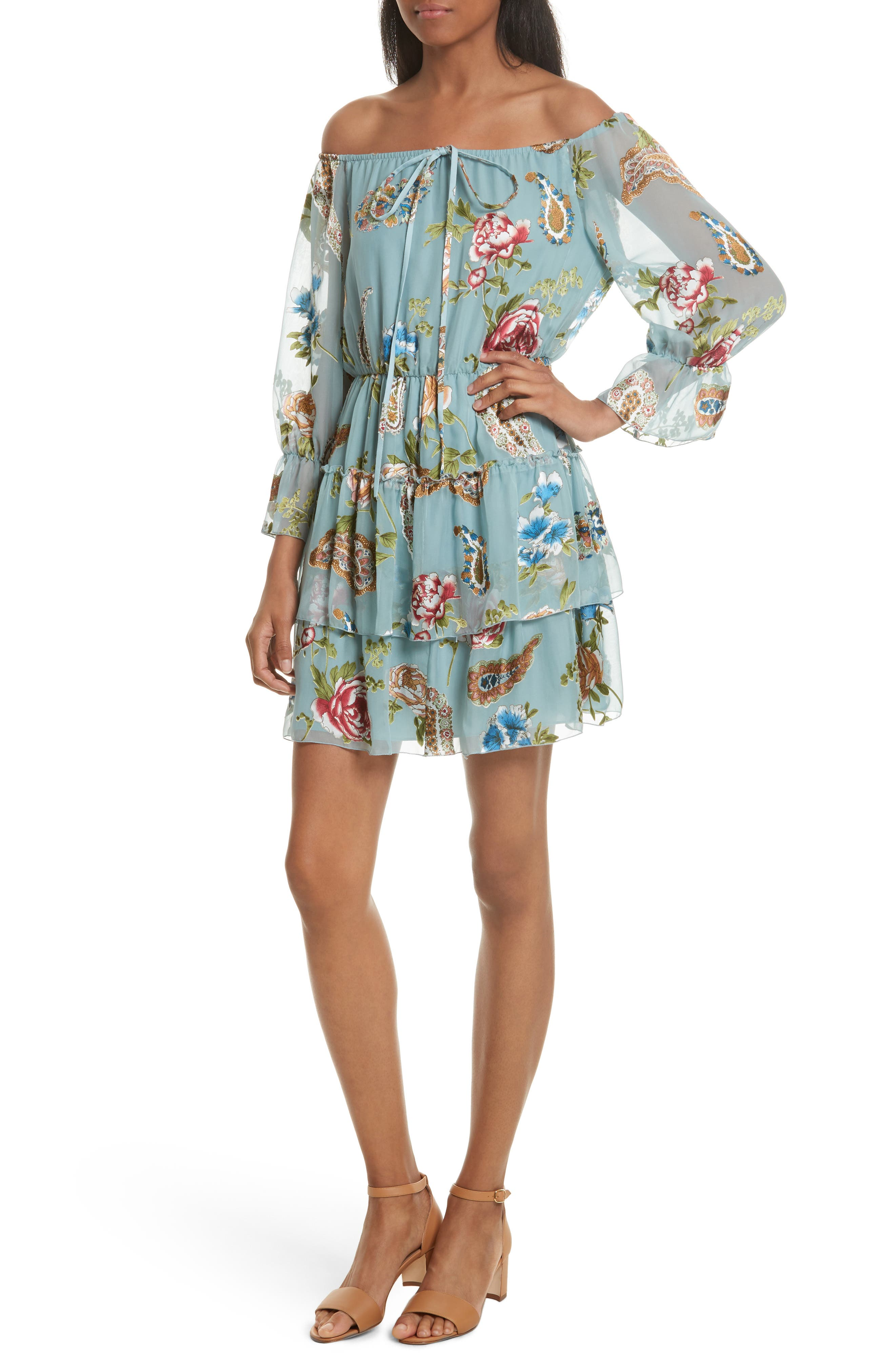 Waylon Off the Shoulder Blouson Dress,                         Main,                         color, Icy Aqua/ Multi