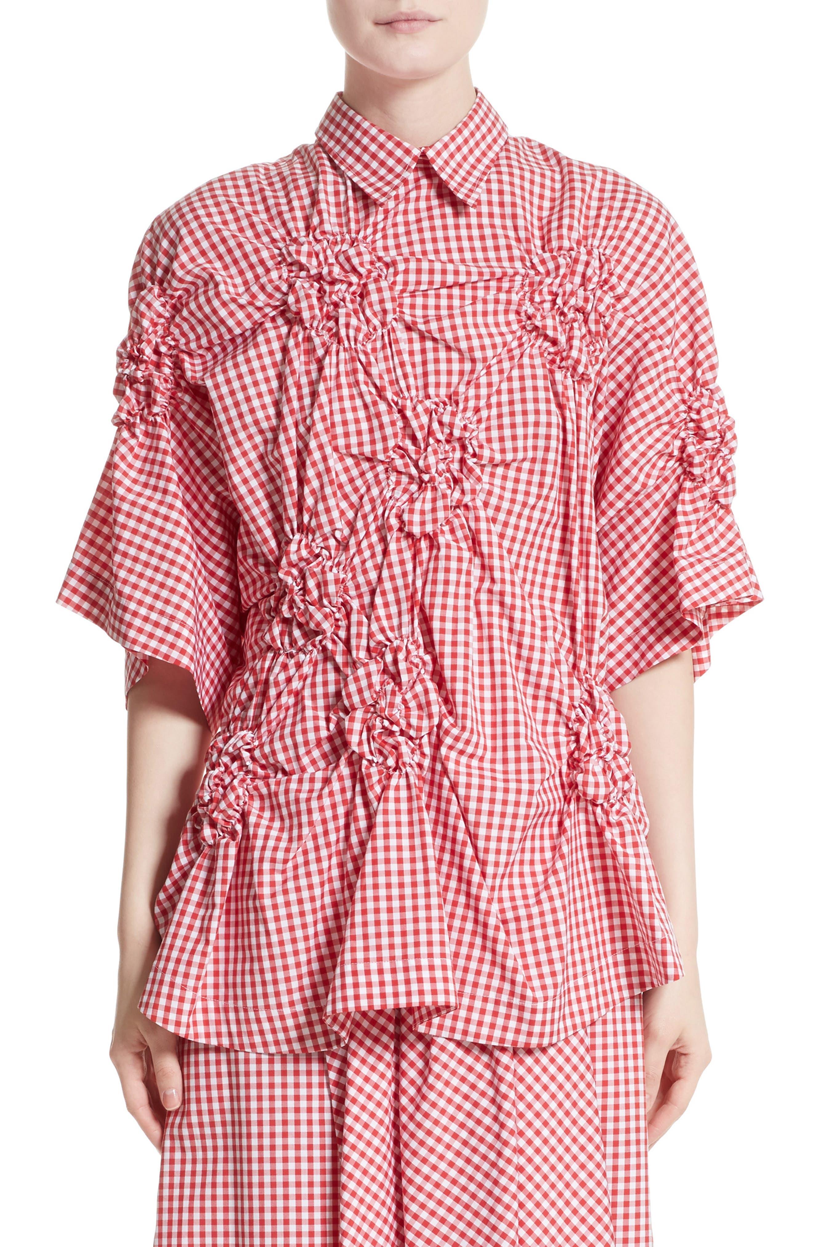SIMONE ROCHA Floral Smocked Gingham Shirt