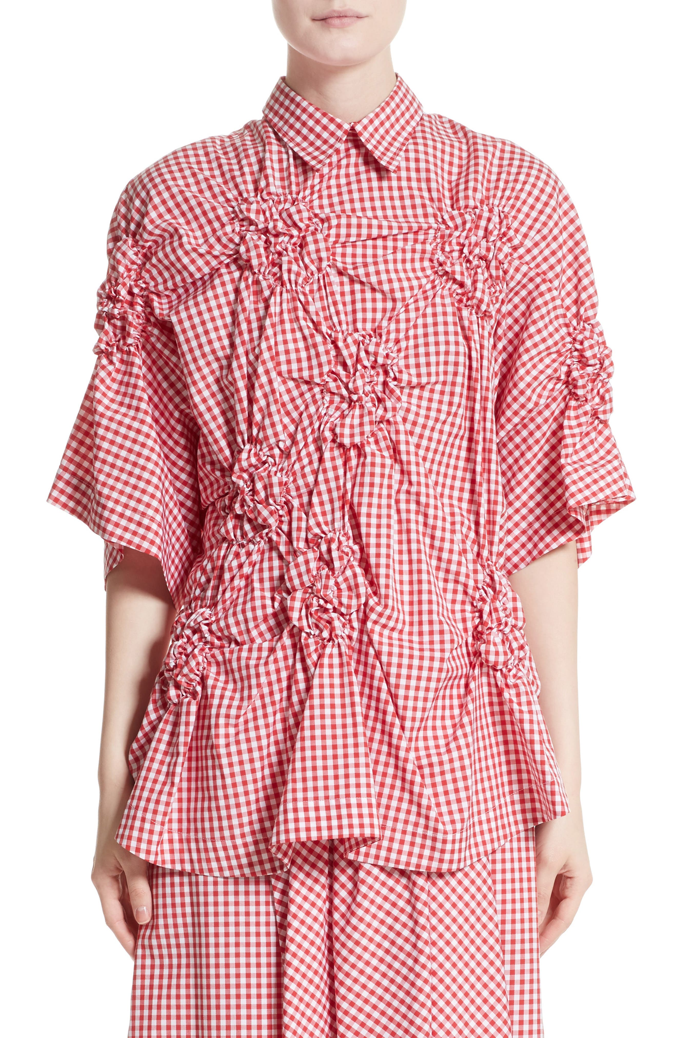 Simone Rocha Floral Smocked Gingham Shirt (Nordstrom Exclusive)