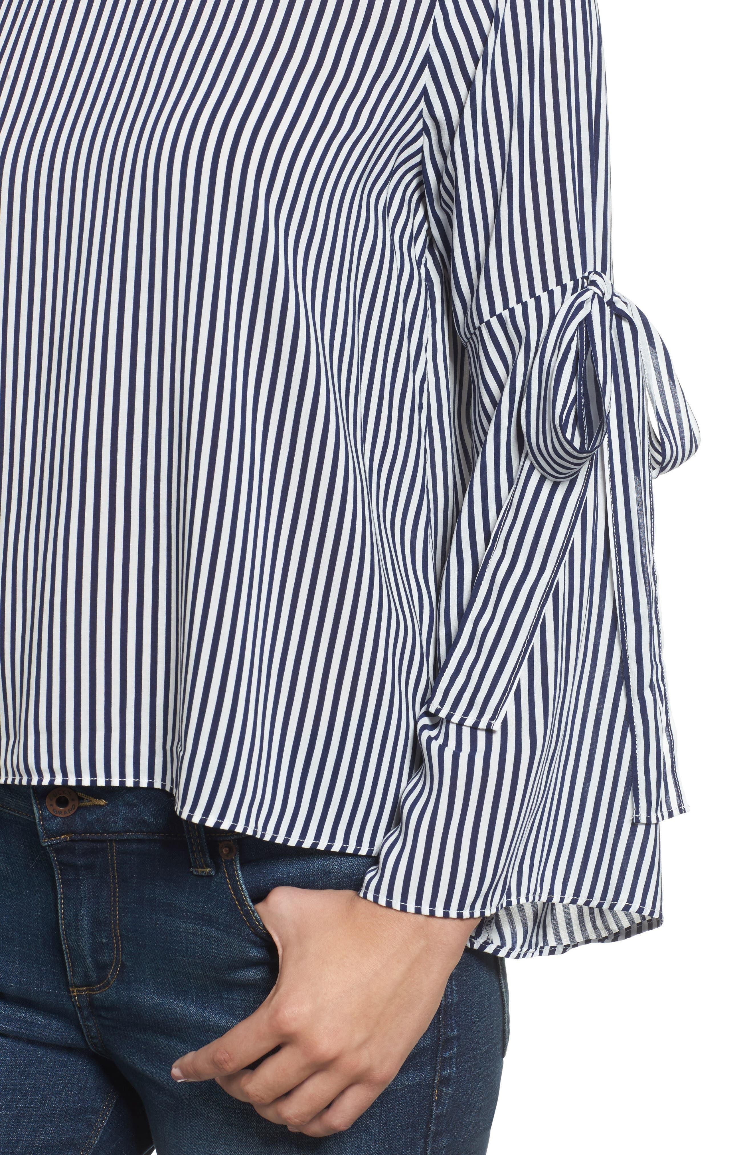 Alternate Image 5  - Velvet by Graham & Spencer Stripe Tie Bell Sleeve Blouse