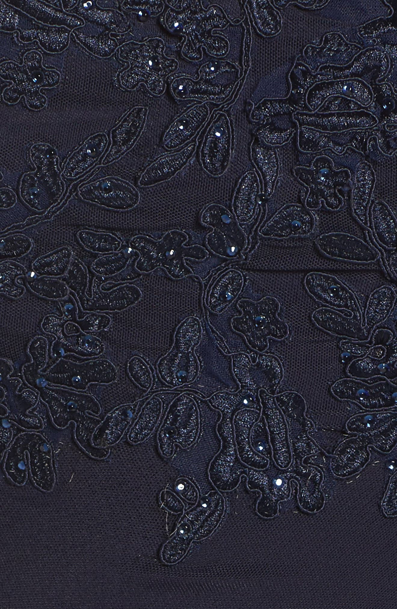 Sequin Embroidered A-Line Gown,                             Alternate thumbnail 5, color,                             Navy