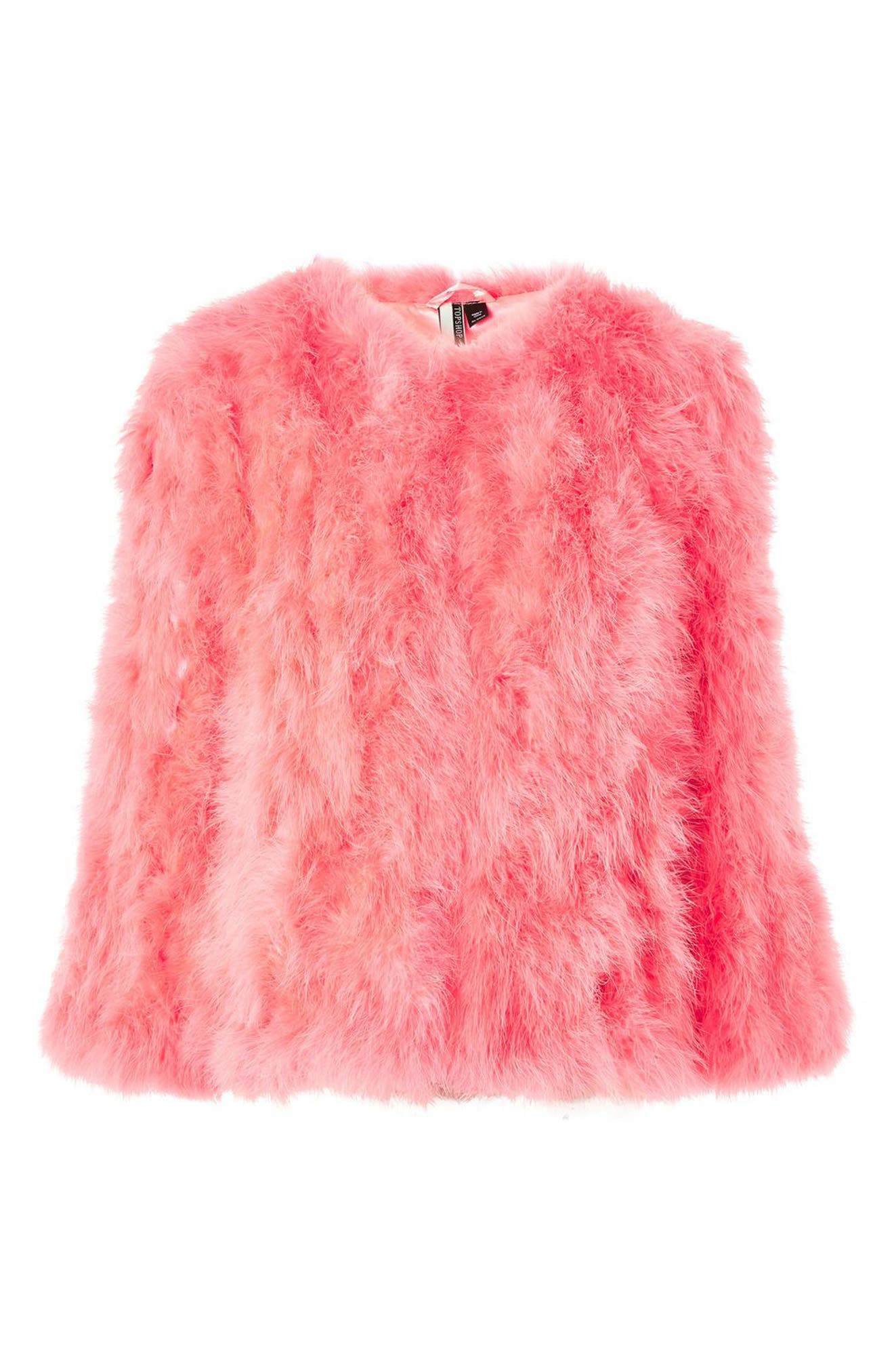 Marabou Feather Jacket,                             Alternate thumbnail 4, color,                             Pink