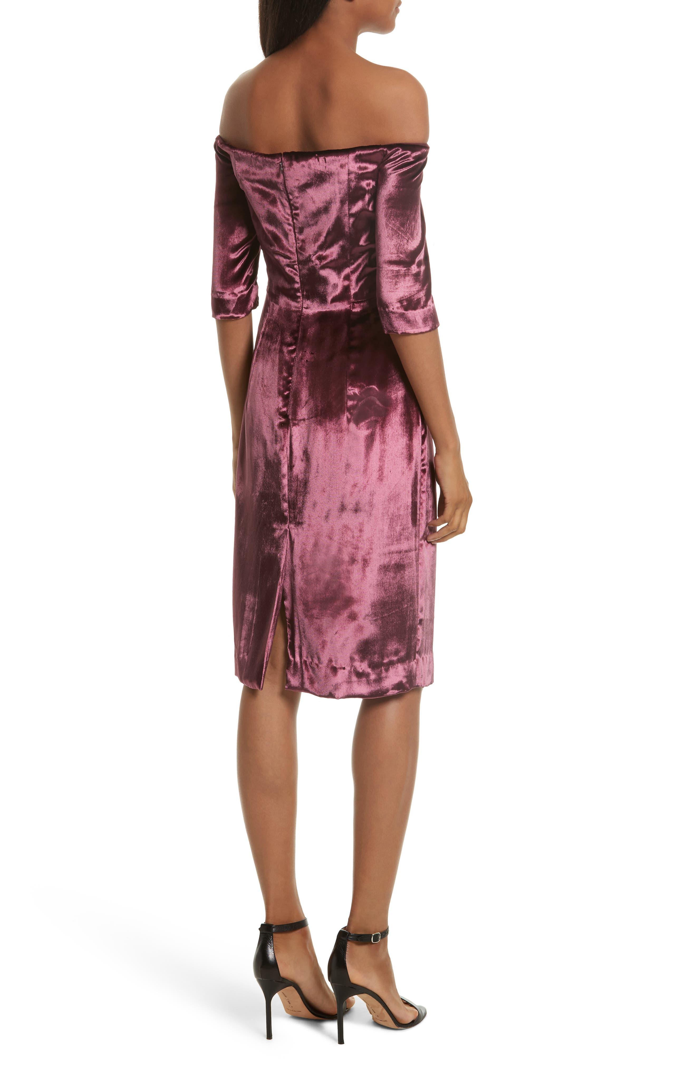 Panne Velvet Body-Con Off-the-Shoulder Dress,                             Alternate thumbnail 2, color,                             Burgundy