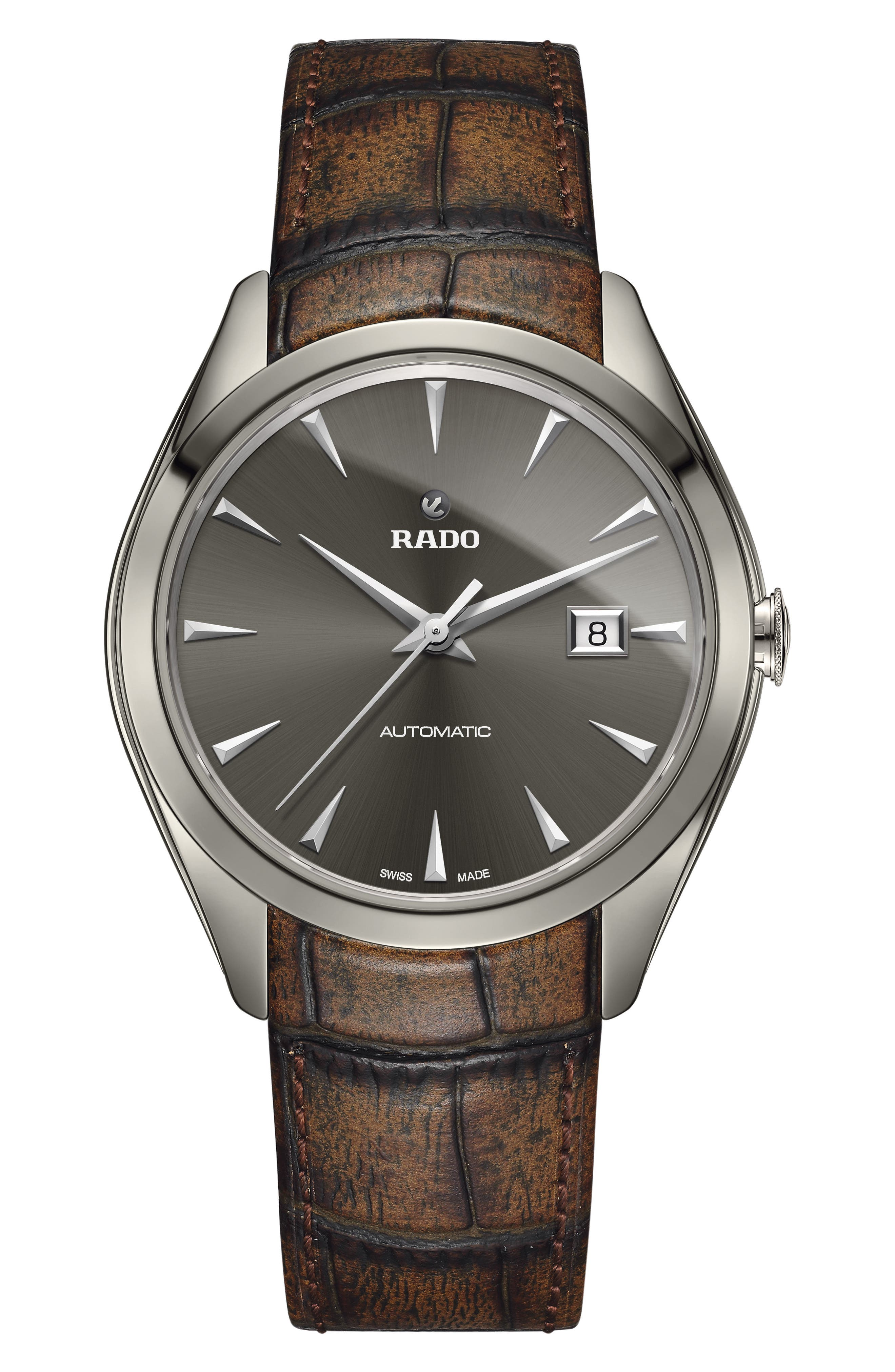 RADO HyperChrome Automatic Leather Strap Watch, 42mm