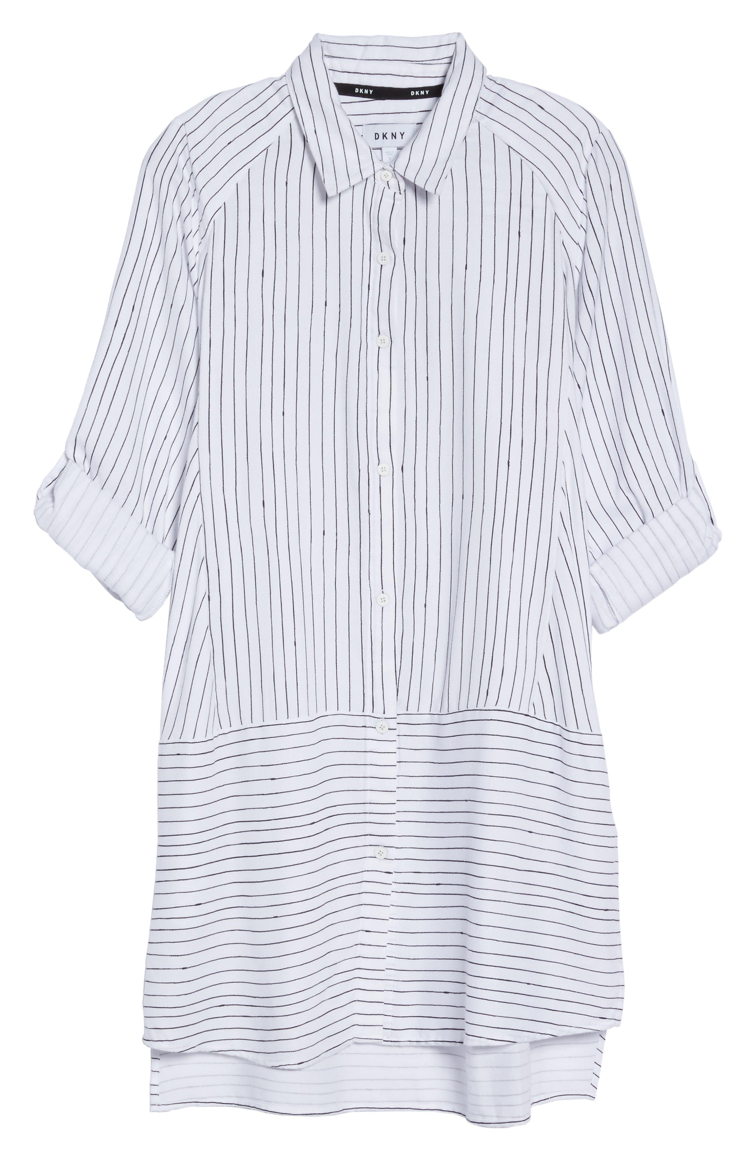 Stripe Sleep Shirt,                             Alternate thumbnail 4, color,                             White Stripe Print