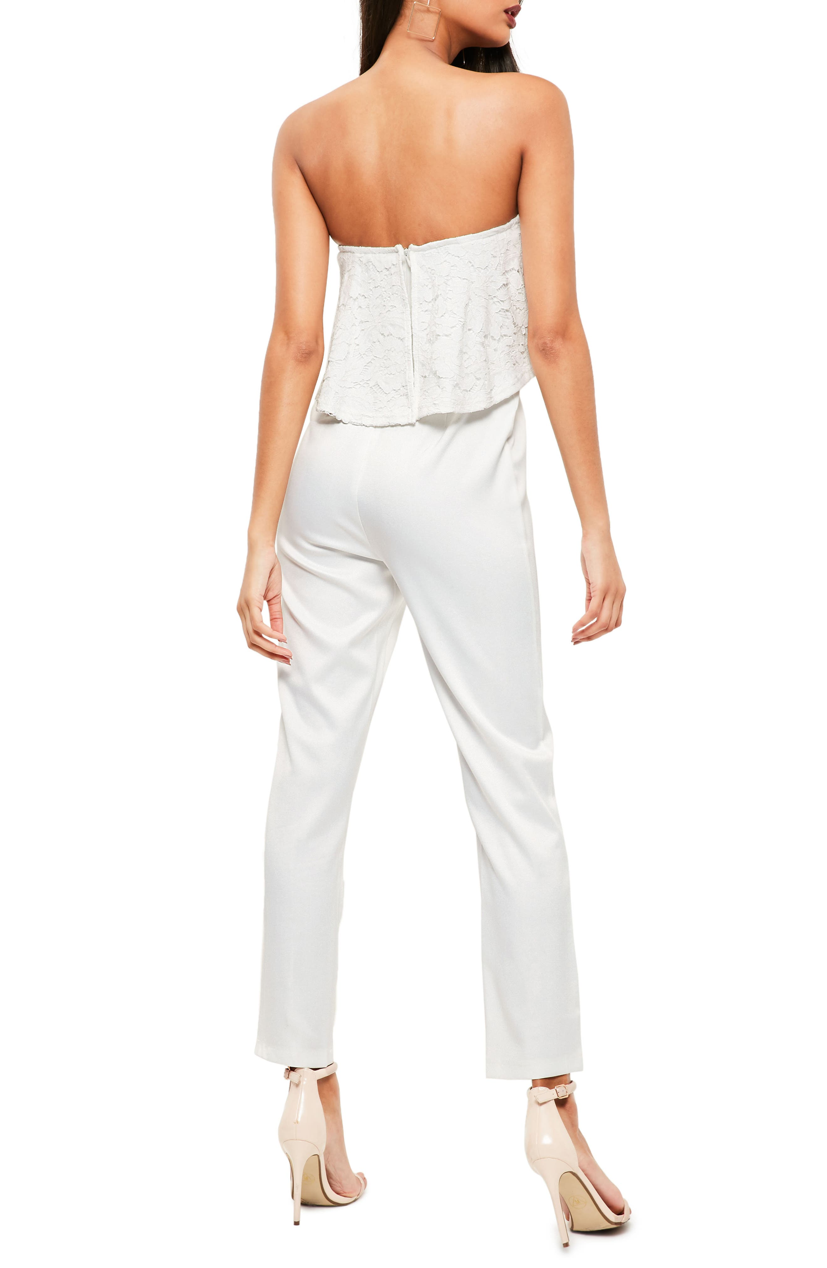 Lace Ruffle Strapless Jumpsuit,                             Alternate thumbnail 2, color,                             White