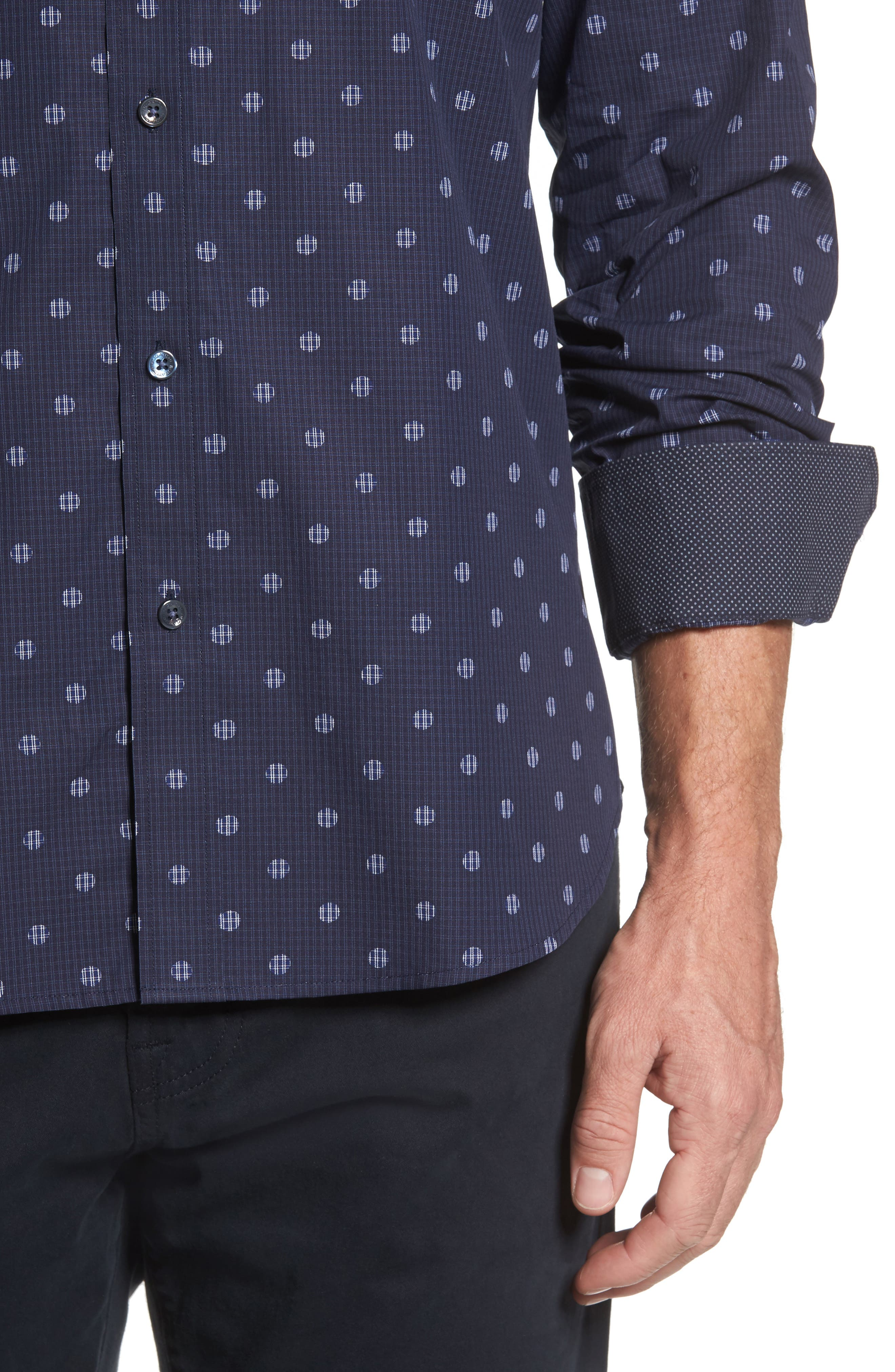 Shaped Fit Dot Check Sport Shirt,                             Alternate thumbnail 4, color,                             Midnight