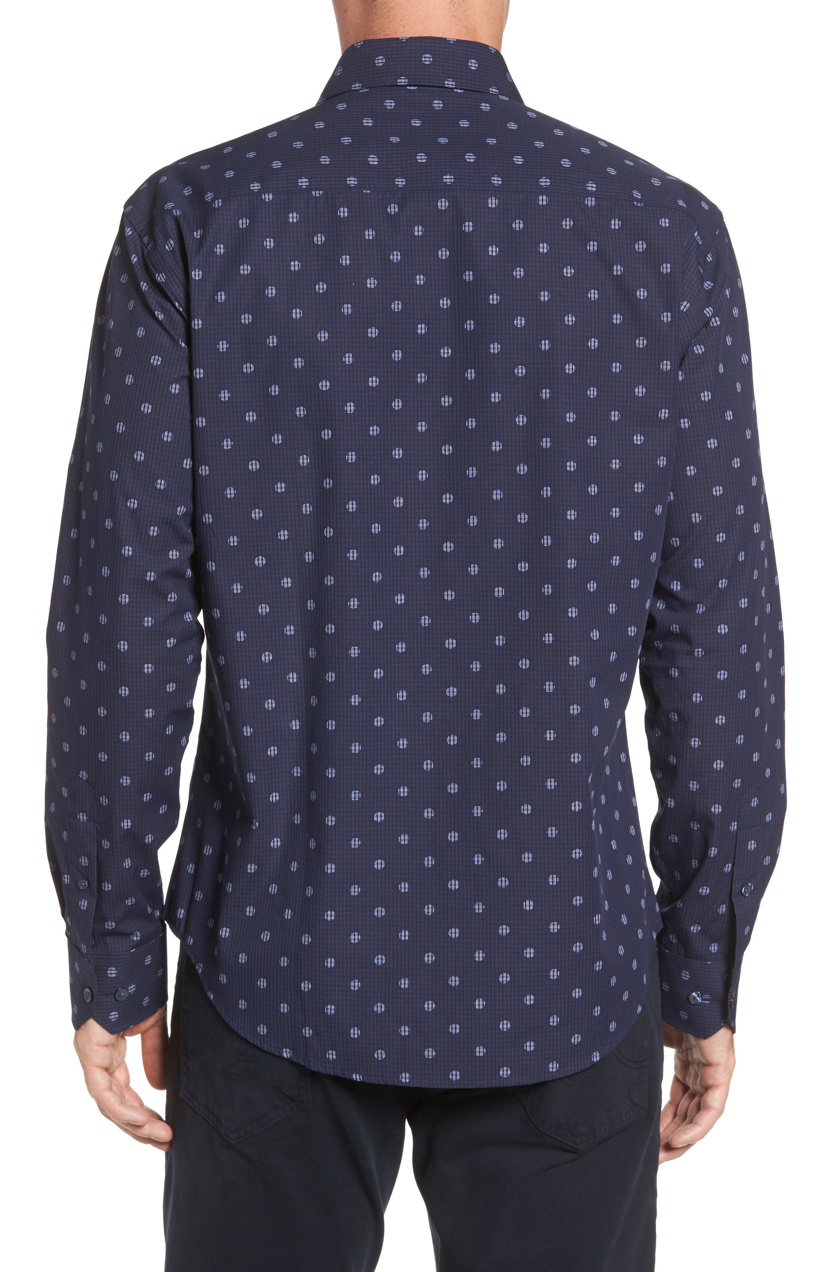 Shaped Fit Dot Check Sport Shirt,                             Alternate thumbnail 2, color,                             Midnight