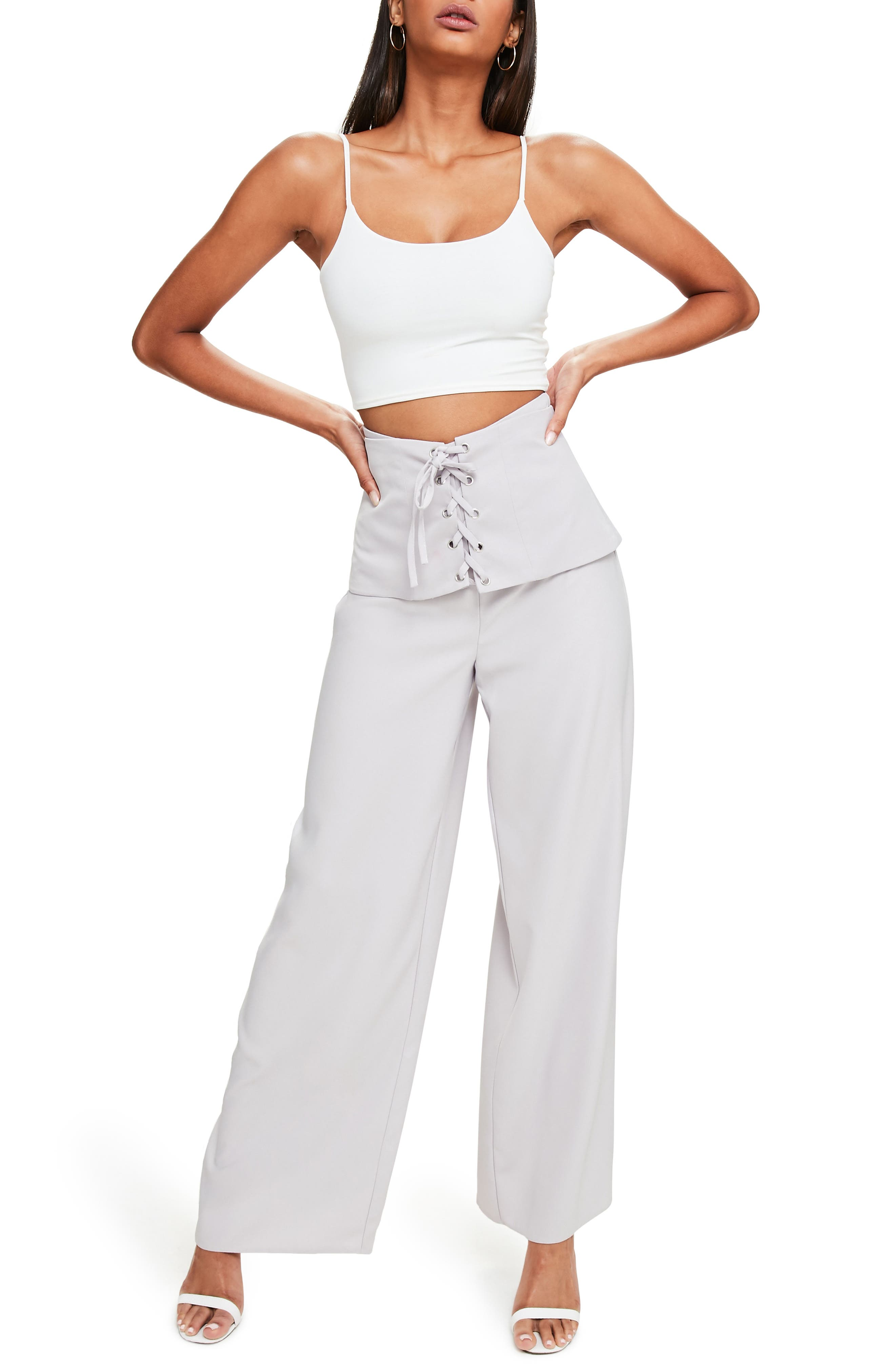 Alternate Image 1 Selected - Missguided Corset Waist Crepe Pants