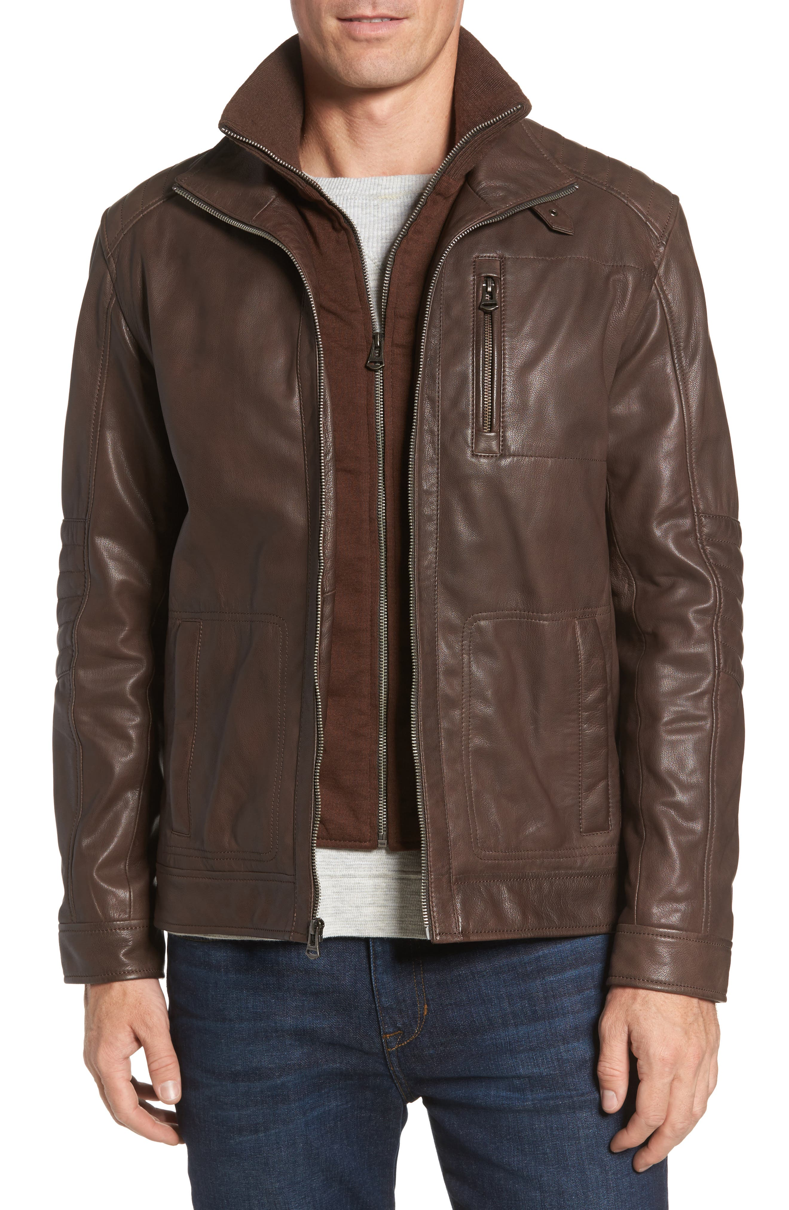 Washed Leather Moto Jacket with Knit Bib,                         Main,                         color, Brown