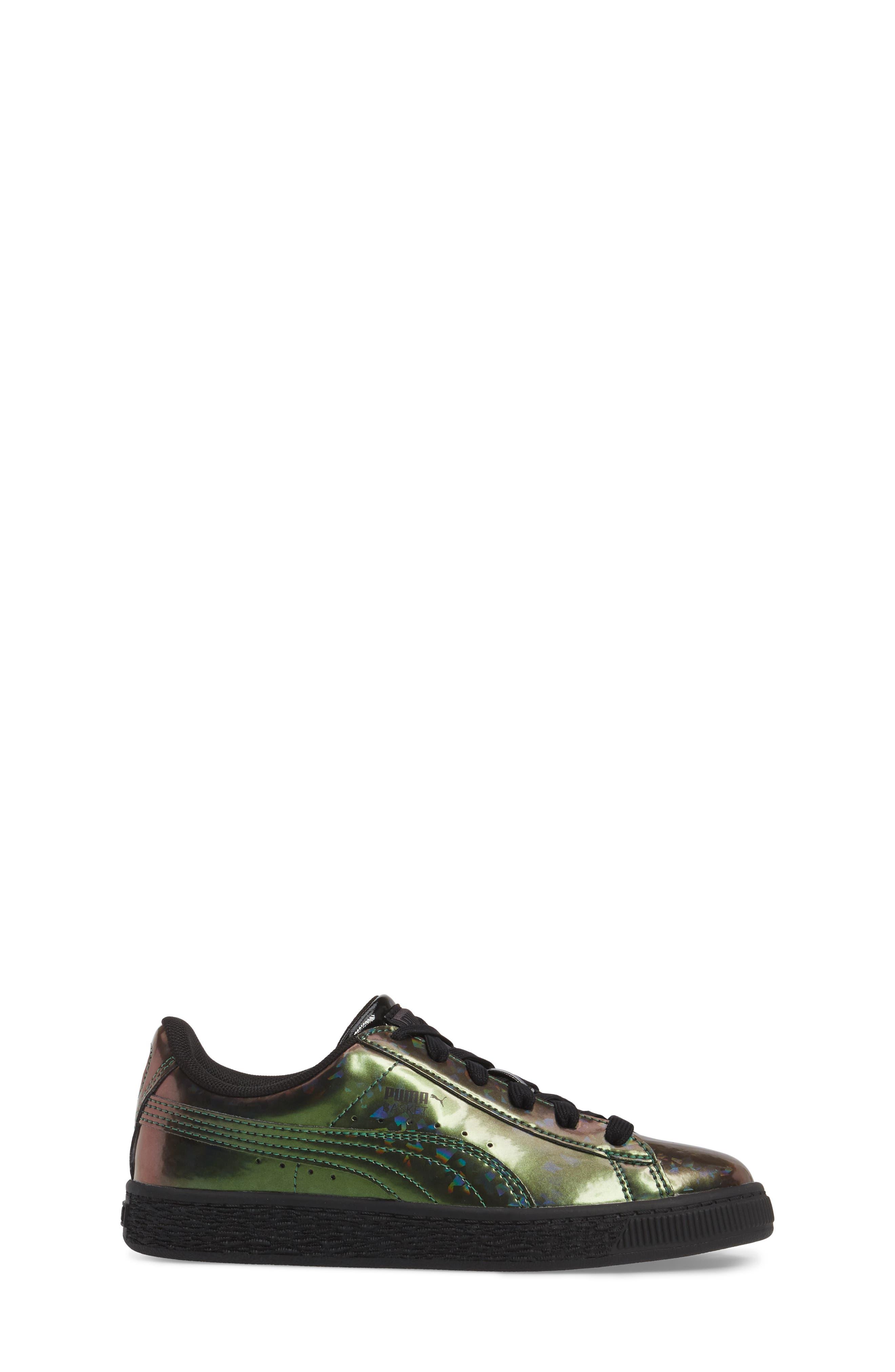 Basket Classic Holo PS Sneaker,                             Alternate thumbnail 3, color,                             Black/ Black