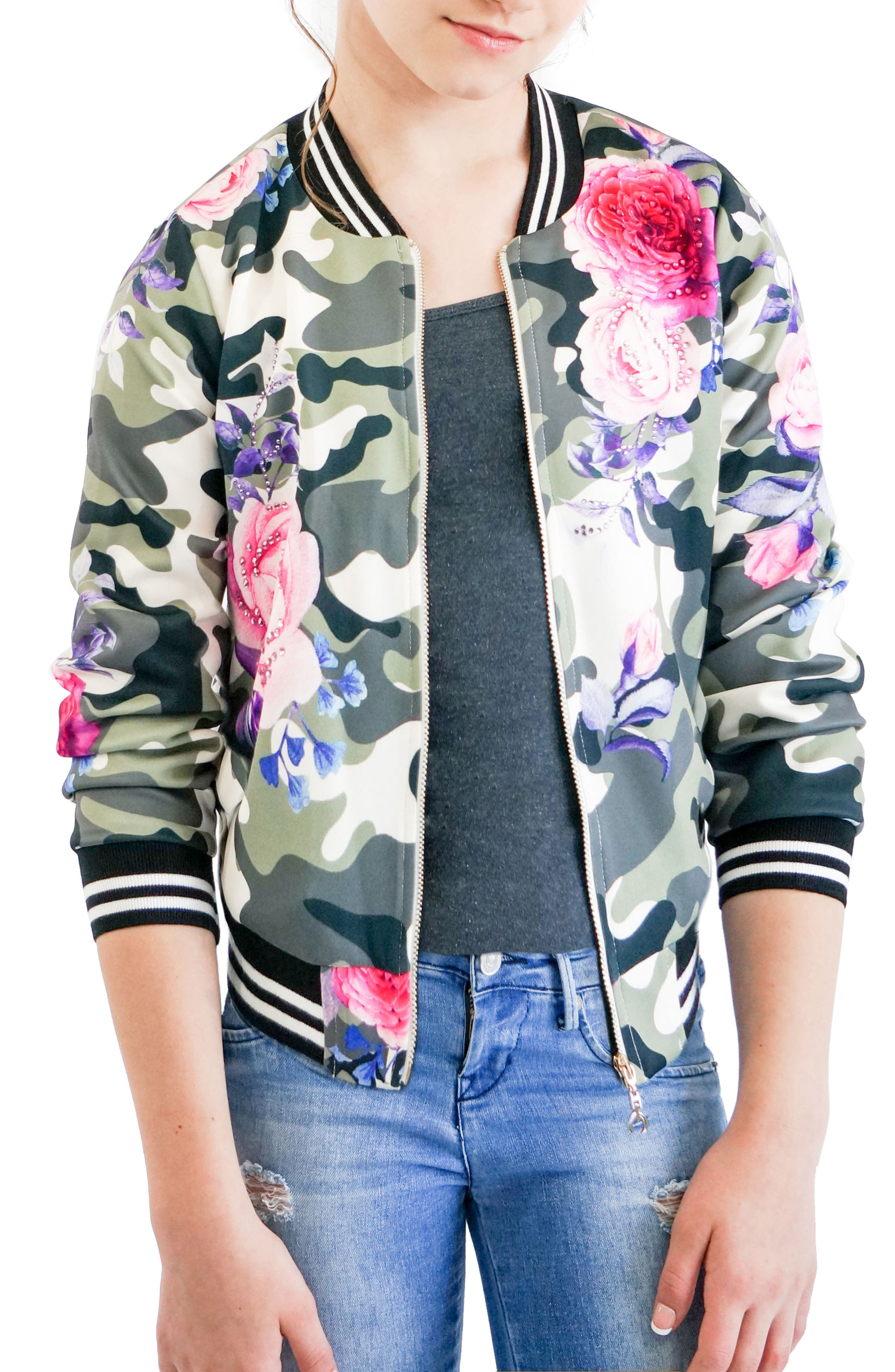 Camo & Rose Bomber Jacket,                             Main thumbnail 1, color,                             Green Multi