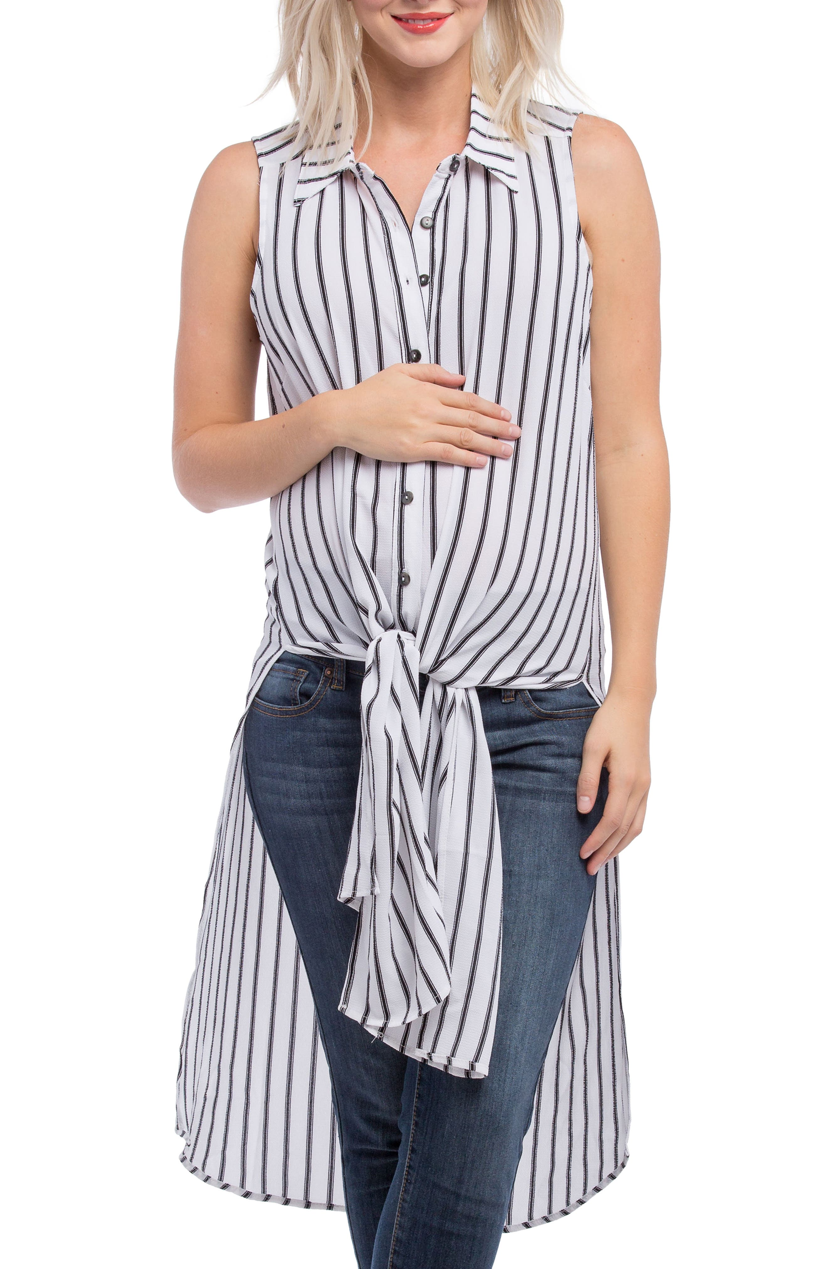 Alternate Image 6  - Lilac Clothing Print Maternity Tunic