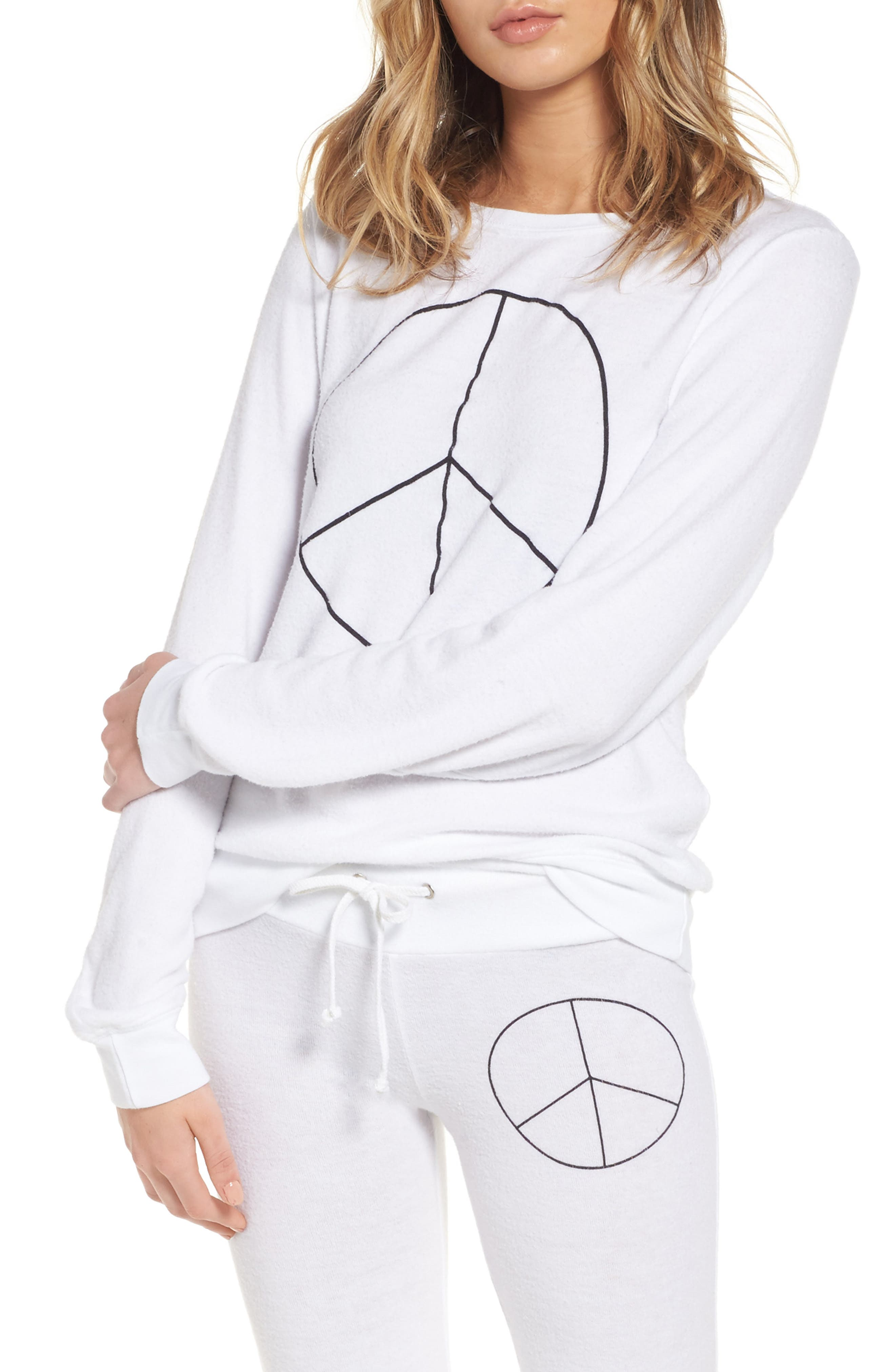 Peace Sweatshirt,                             Main thumbnail 1, color,                             White