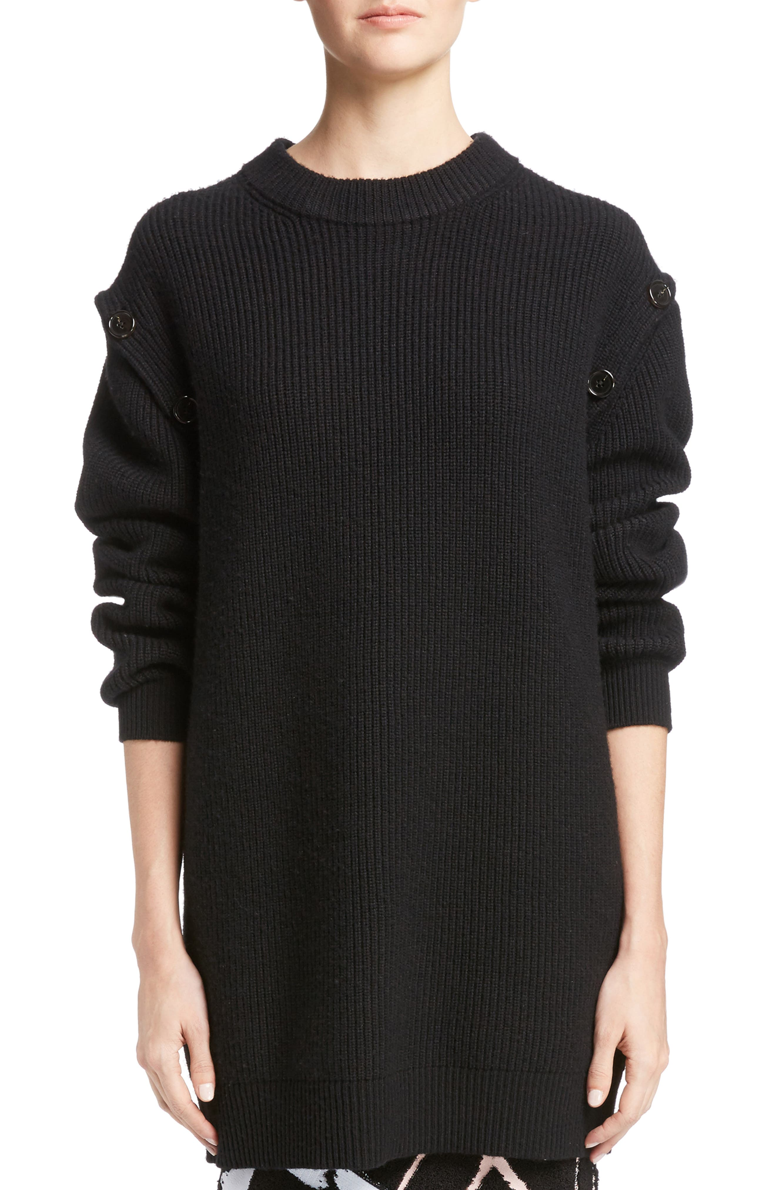 Wool & Cashmere Blend Knit Tunic,                         Main,                         color, Black