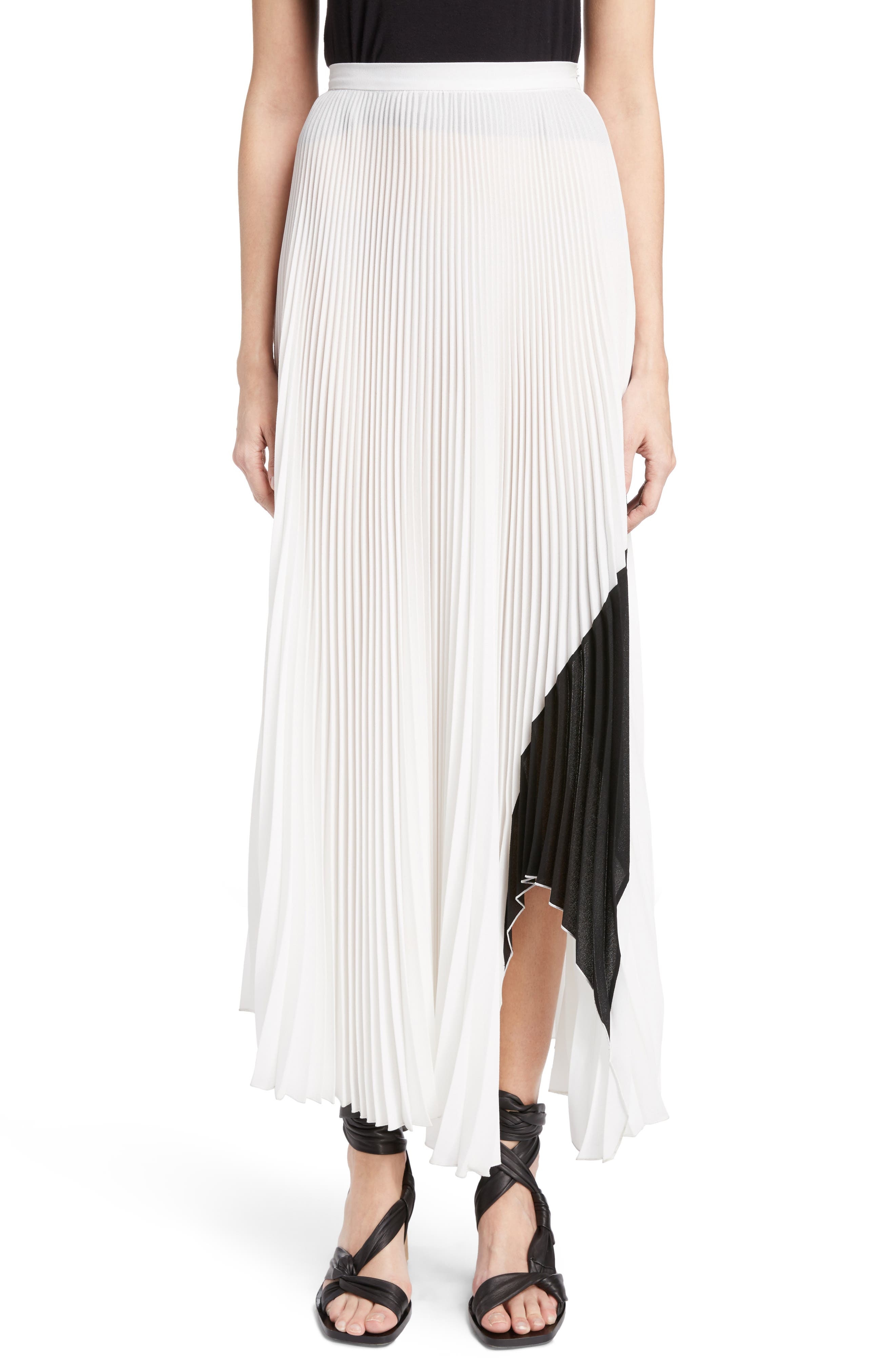 Proenza Schouler Arched Hem Pleated Crepe Gauze Skirt