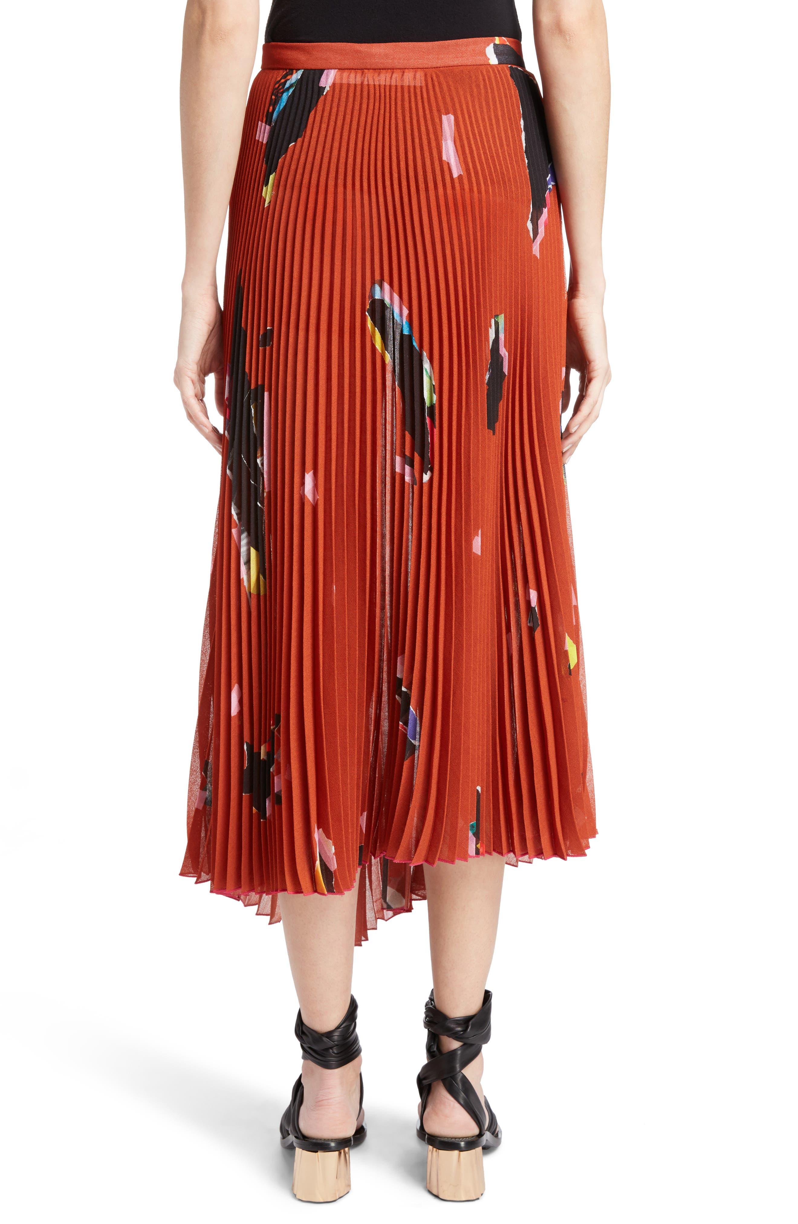 Asymmetrical Pleated Skirt,                             Alternate thumbnail 2, color,                             Orange