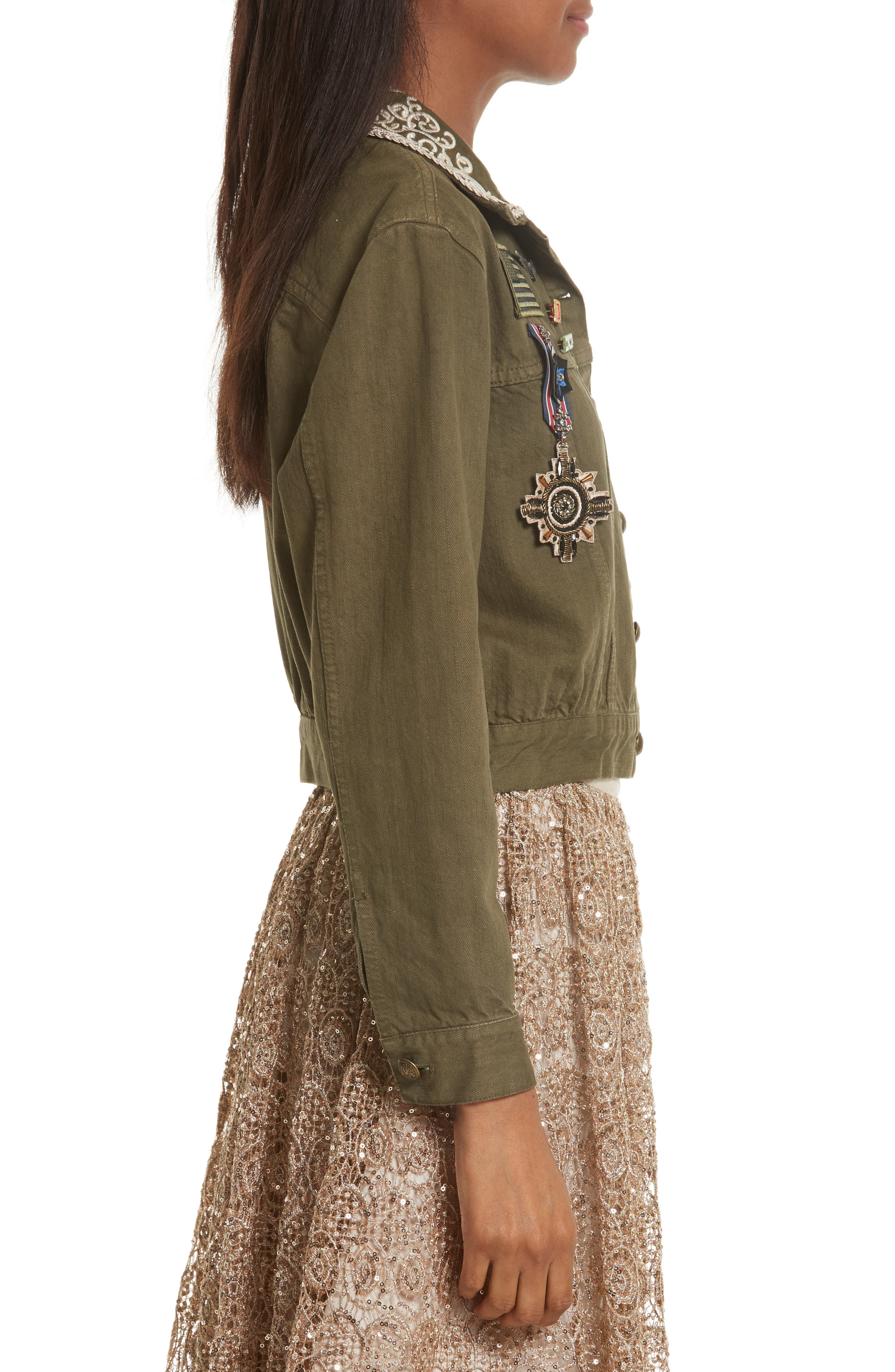 Chloe Embellished Crop Military Jacket,                             Alternate thumbnail 5, color,                             Army