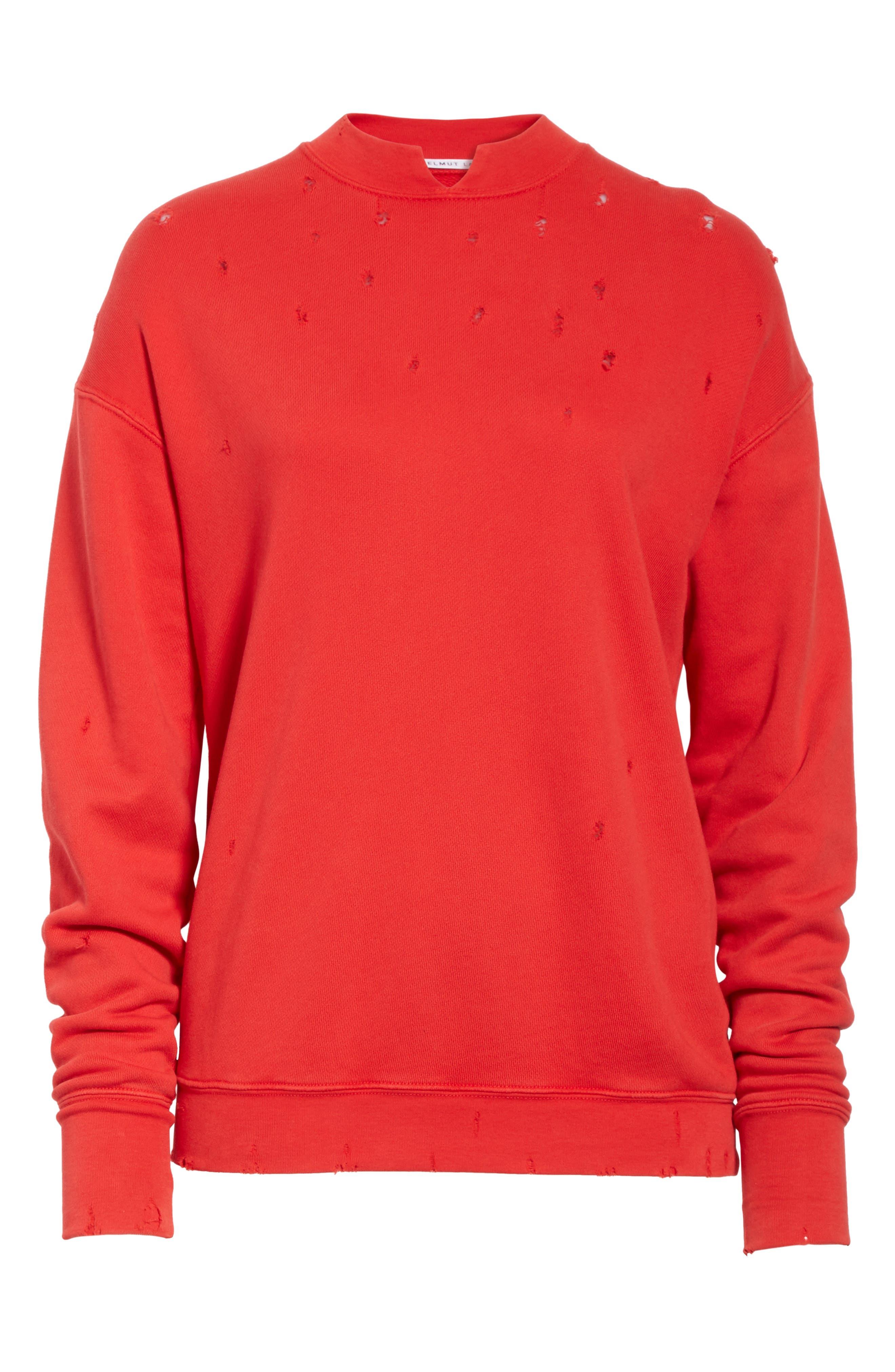 Slash Neck Destroyed Sweatshirt,                             Alternate thumbnail 6, color,                             Amaryllis