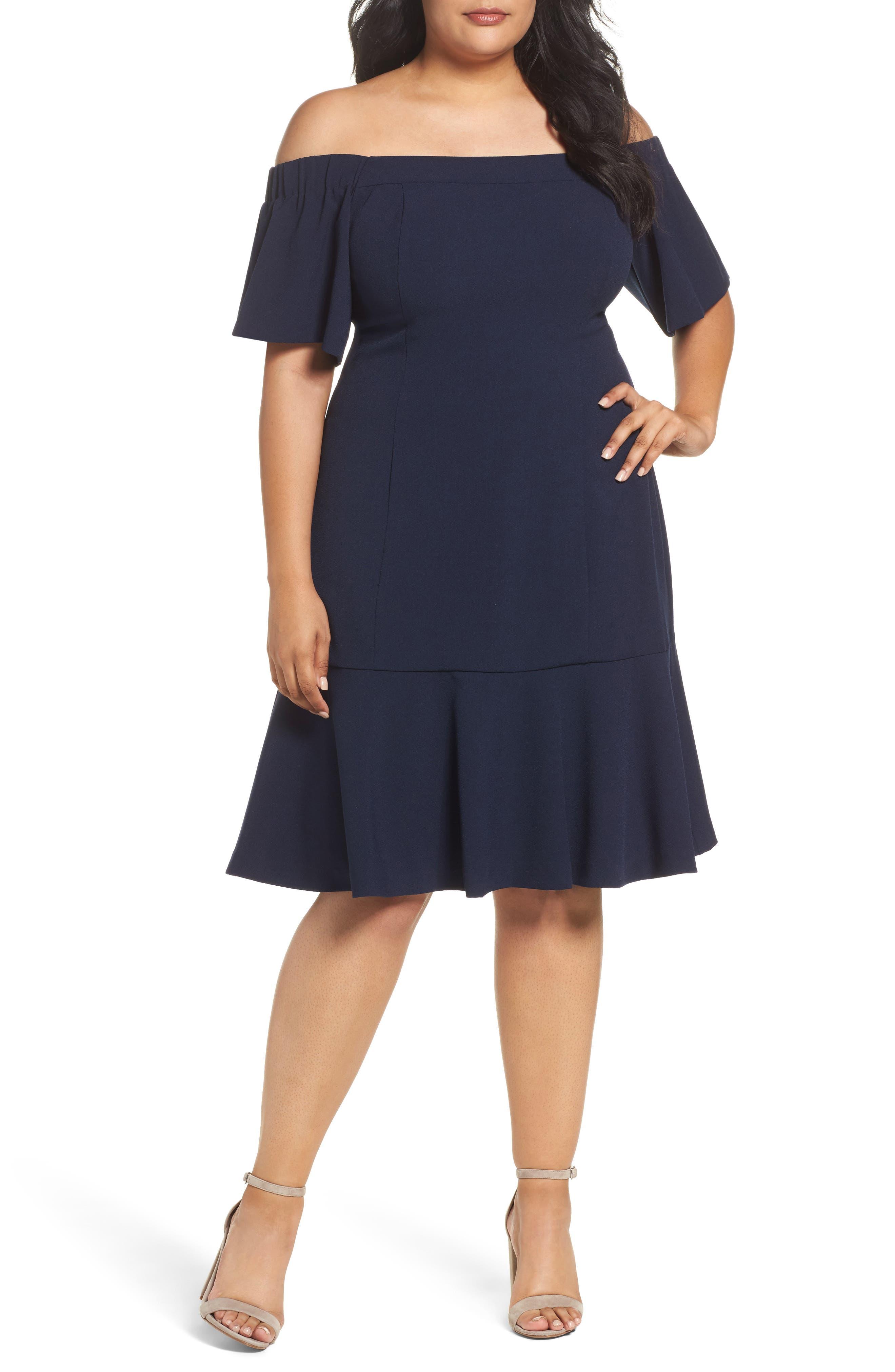 Crepe Off the Shoulder Dress,                         Main,                         color, Navy
