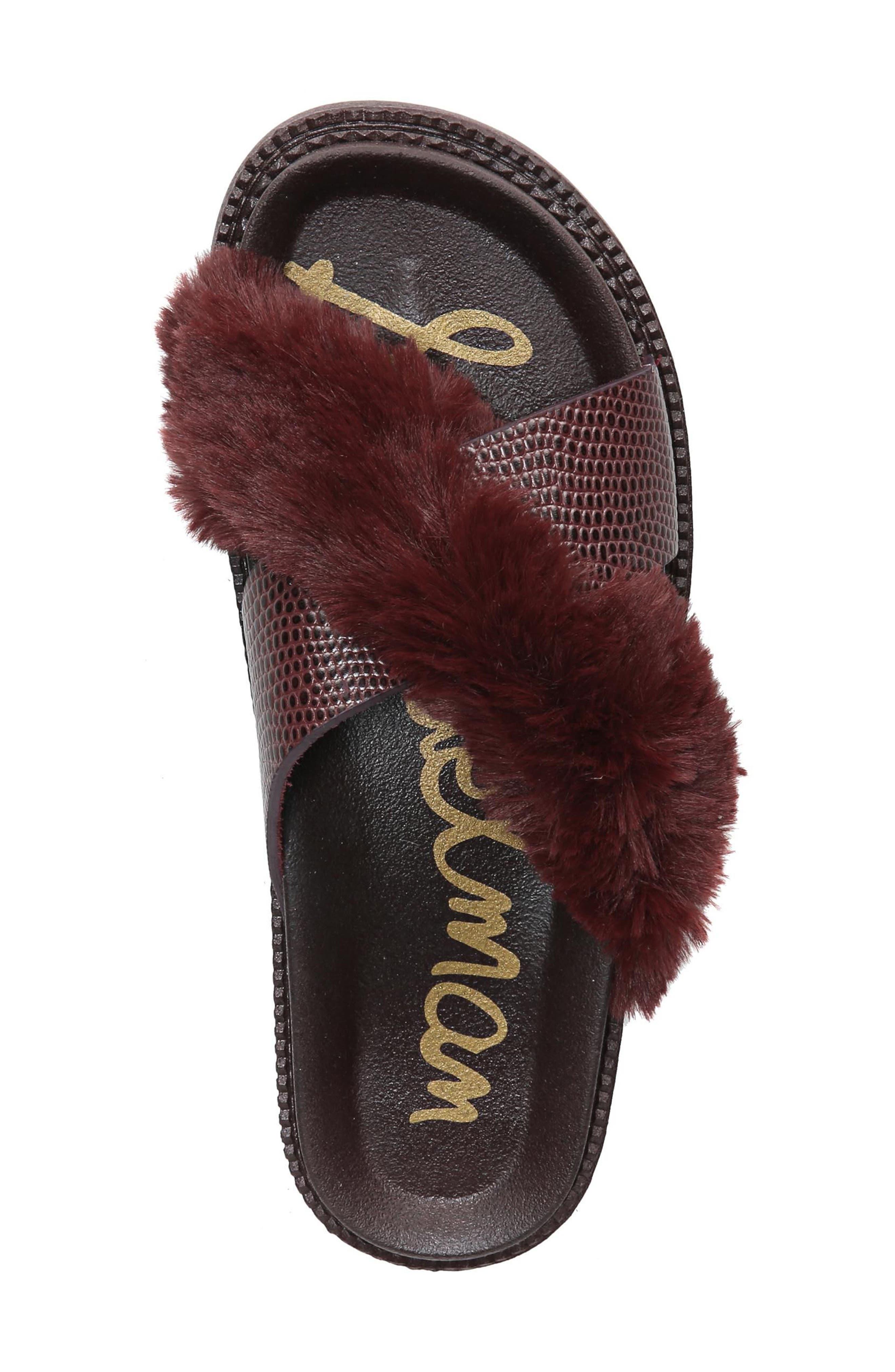 Alternate Image 5  - Sam Edelman Bianca Faux Fur Cross Strap Sandal (Women)