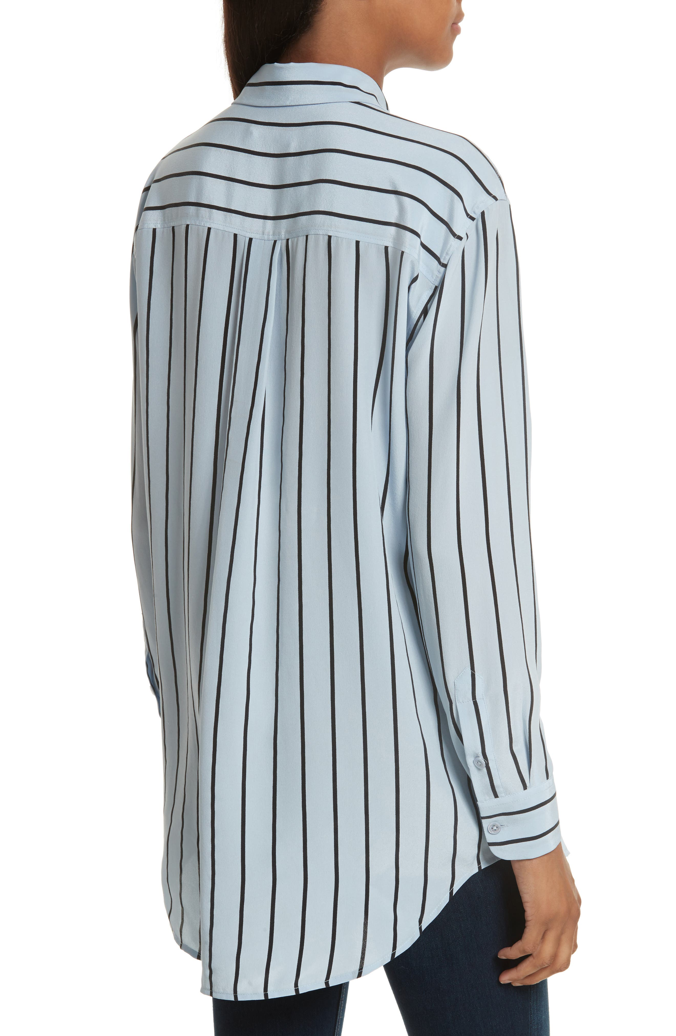 Daddy Oversize Stripe Silk Shirt,                             Alternate thumbnail 2, color,                             Pear Blue/ True Black