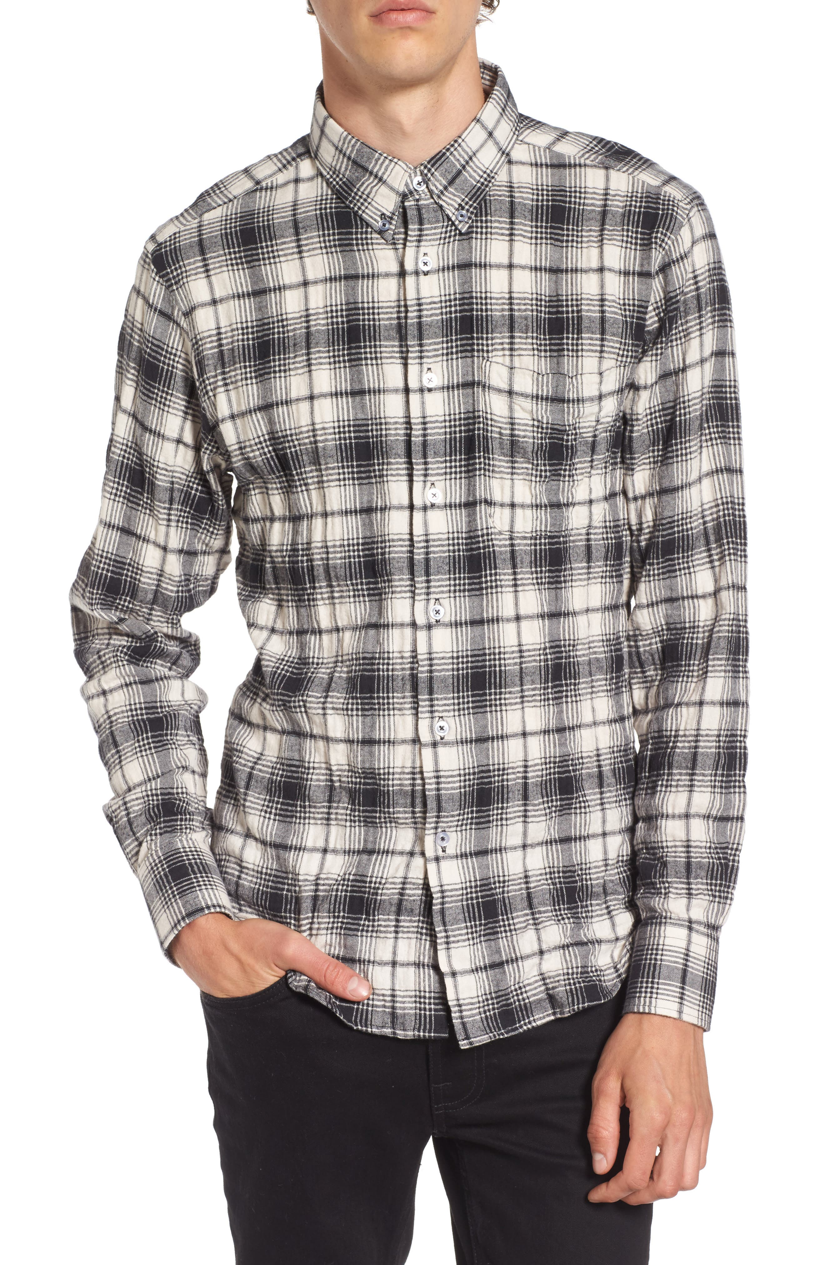 Regular Fit Plaid Flannel Sport Shirt,                             Main thumbnail 1, color,                             White