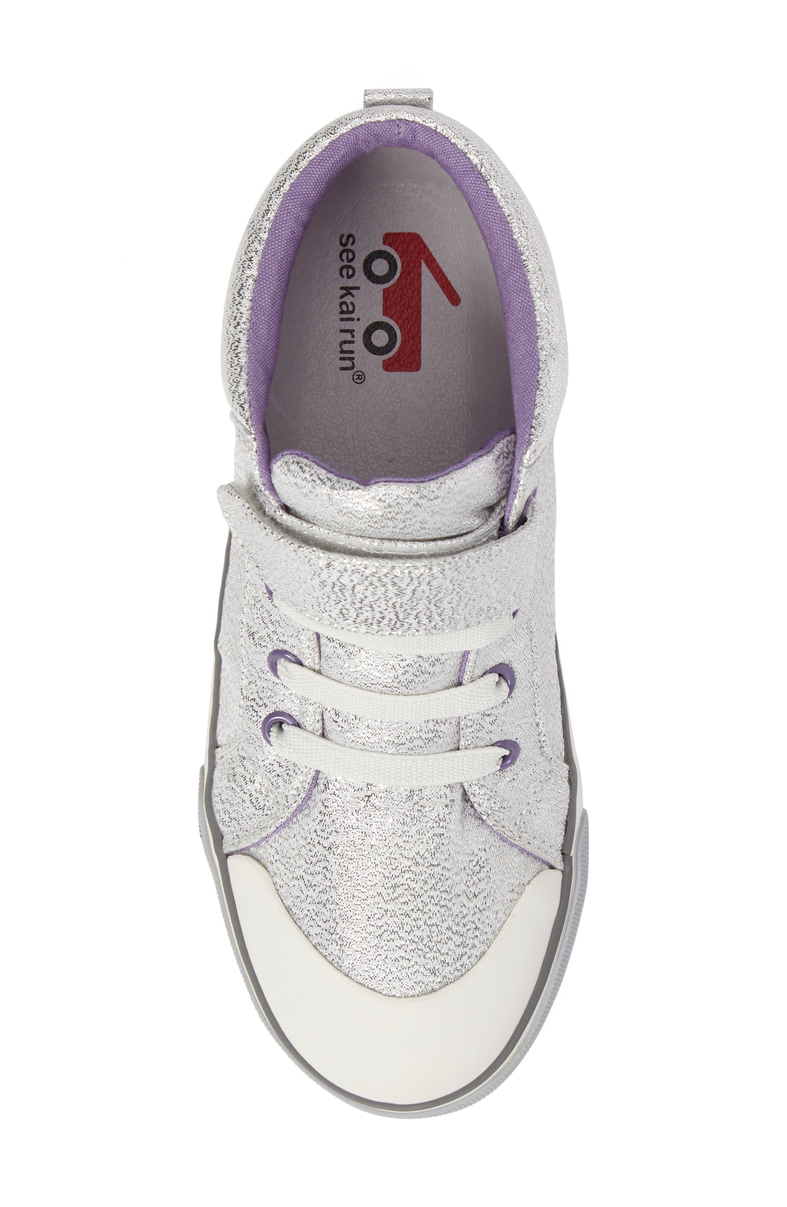 Peyton Metallic Mid Top Sneaker,                             Alternate thumbnail 5, color,                             Silver