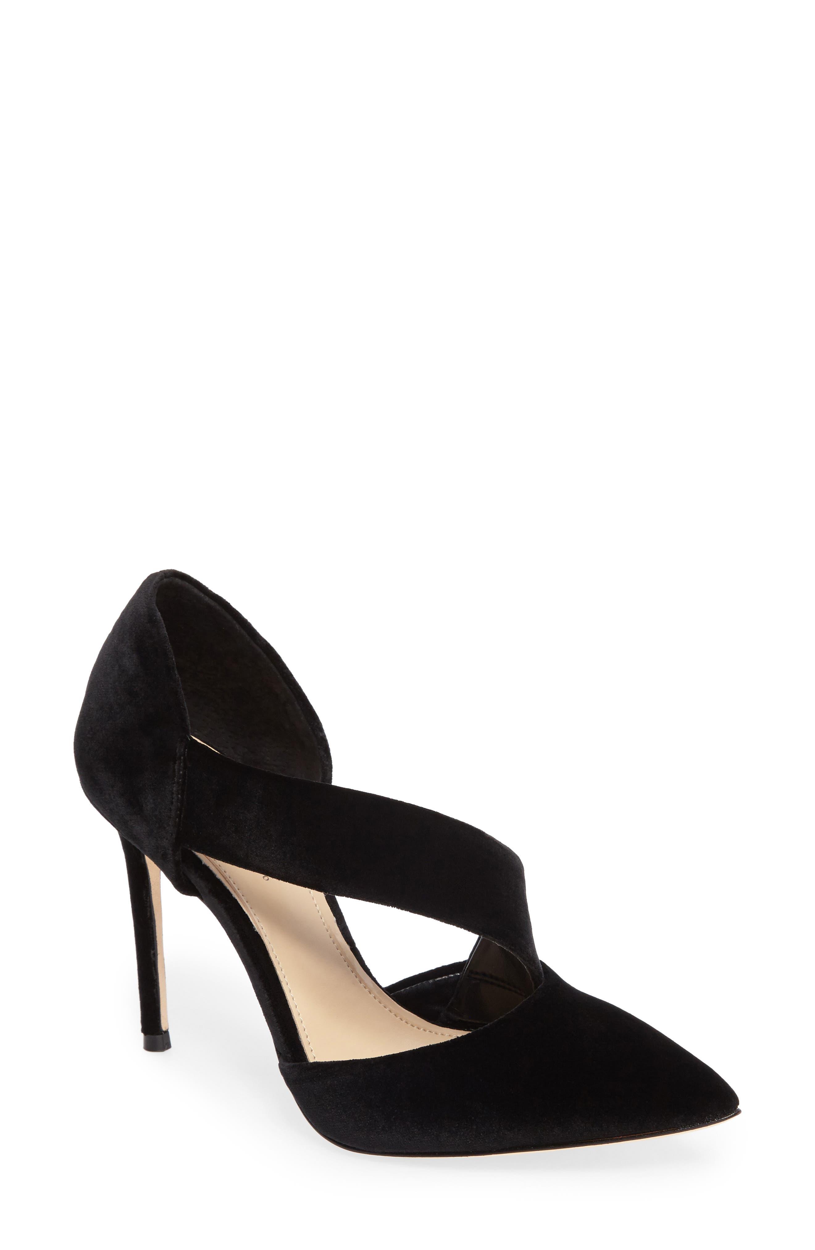 Oya Asymmetrical Pointy Toe Pump,                         Main,                         color, Black Velvet