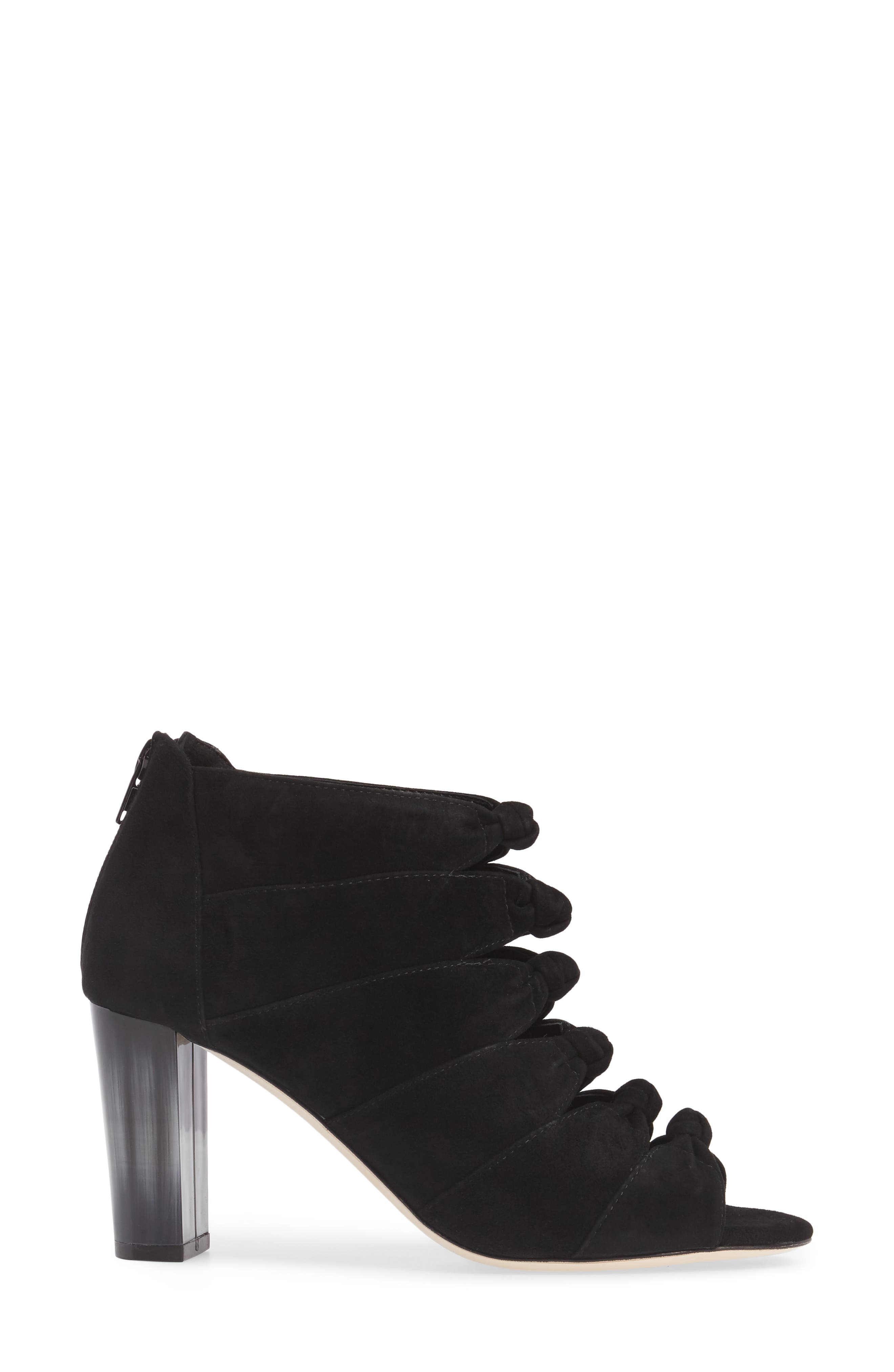 Betsy Open Toe Bootie,                             Alternate thumbnail 3, color,                             Black Suede