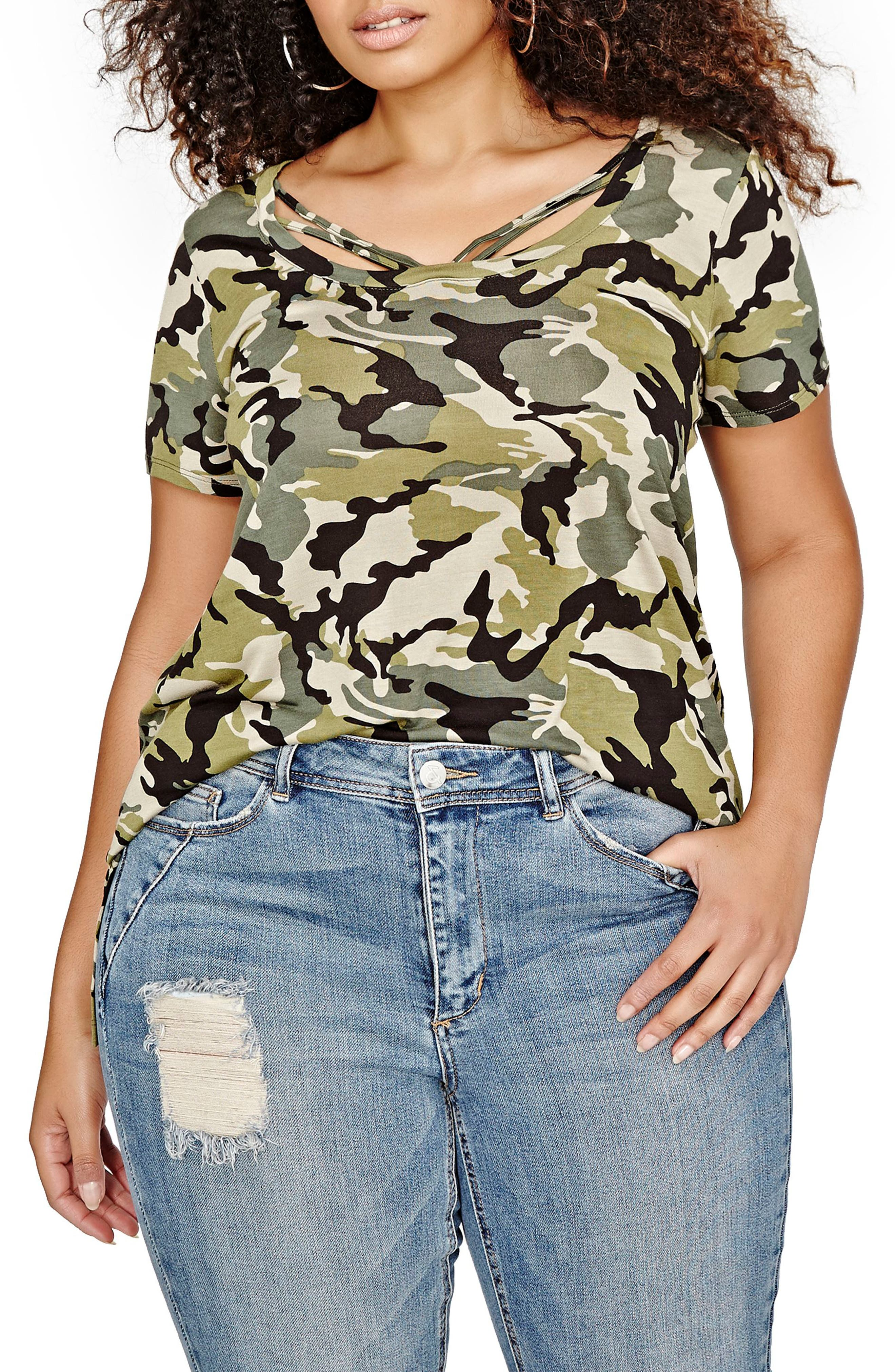 ADDITION ELLE LOVE AND LEGEND Camo Strap Detail Tee (Plus Size)