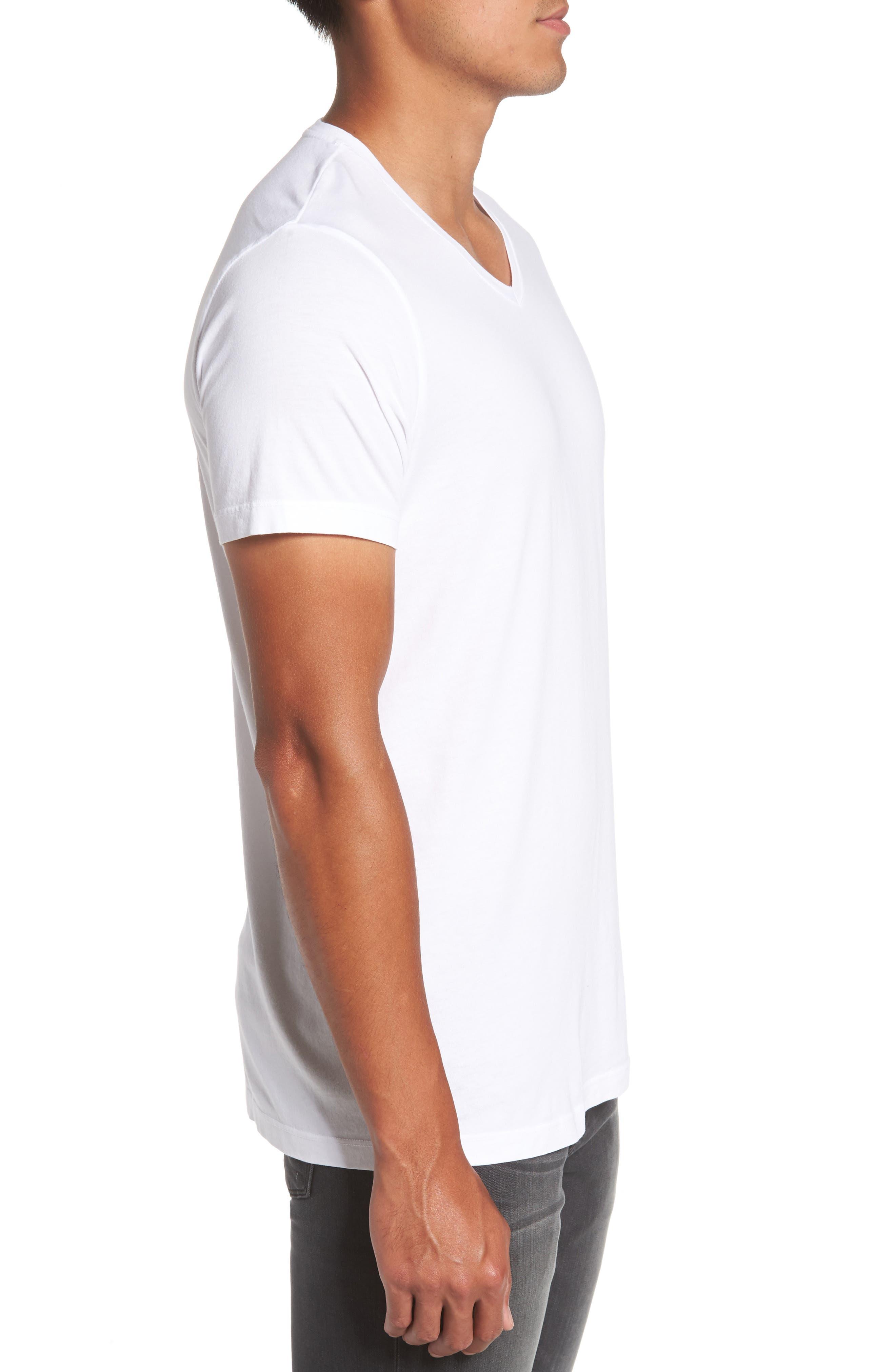 Grayson V-Neck T-Shirt,                             Alternate thumbnail 3, color,                             White