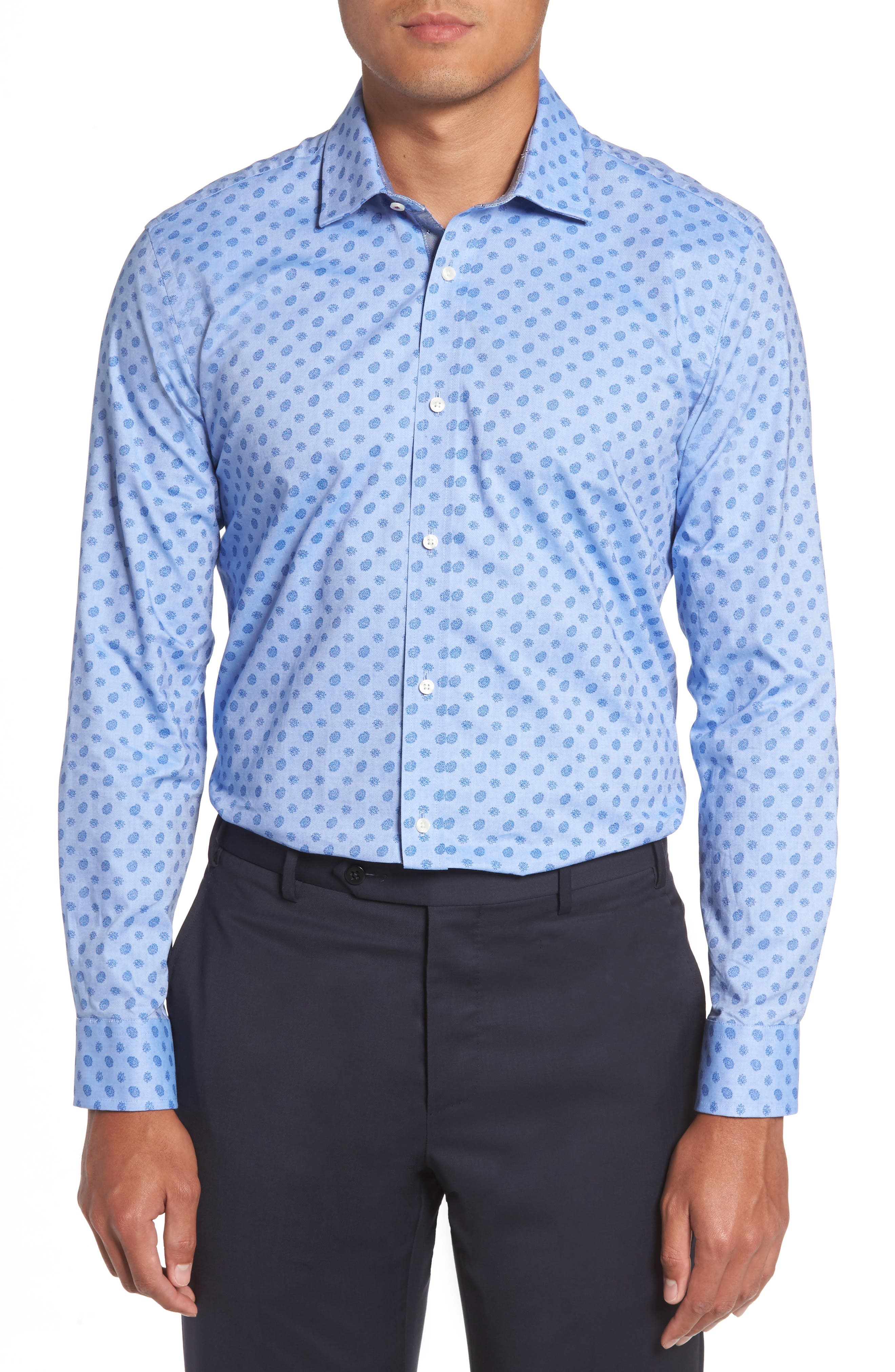Midra Trim Fit Paisley Dress Shirt,                             Alternate thumbnail 2, color,                             Blue